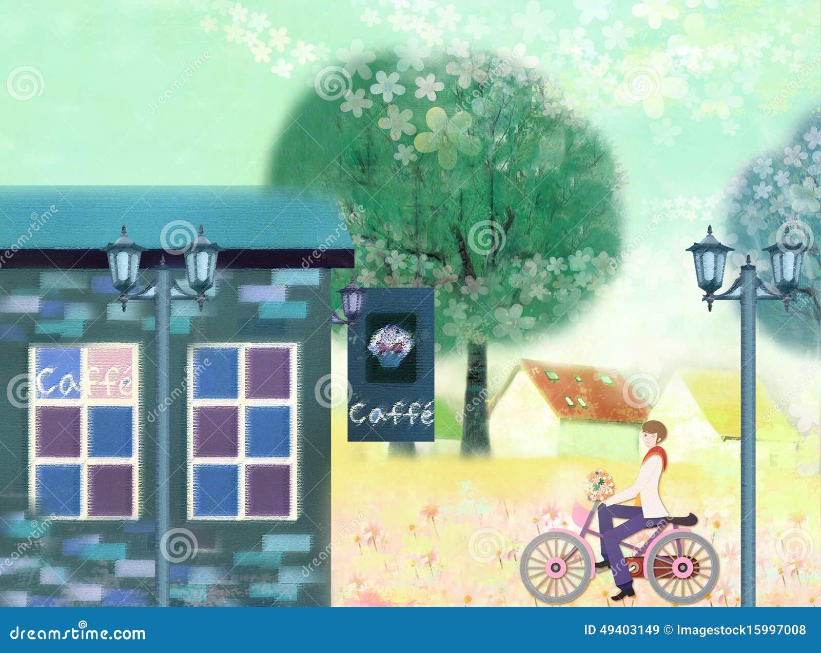 Download Café auf der Straße stock abbildung. Illustration von blumen - 49403149