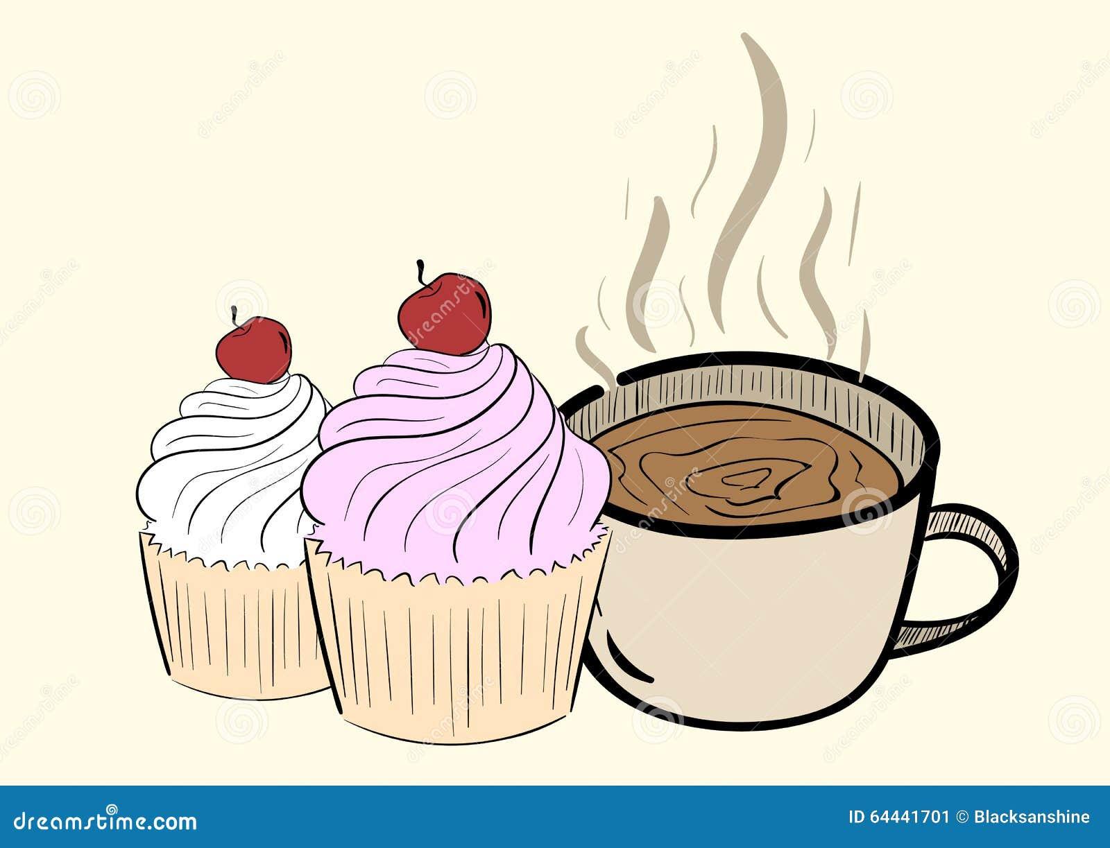 Café avec le gâteau illustration de vecteur. Illustration du