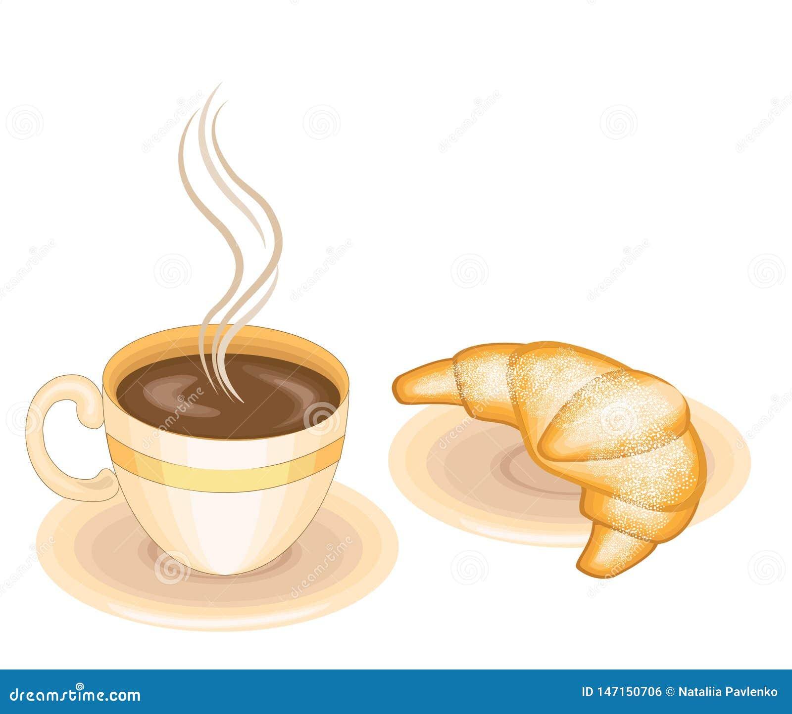 Café chaud avec le croissant frais, cuisine française classique Nourriture délicieuse pour le petit déjeuner, la détresse et le d