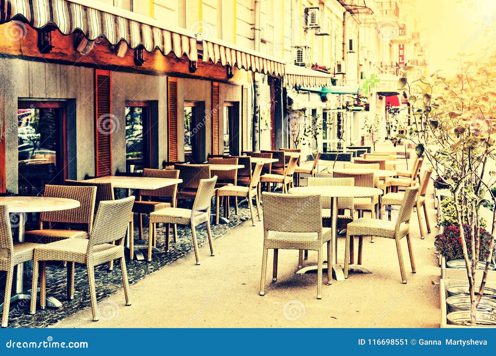 Café Ciudad Restaurante Verano Comiendo Al Aire Libre