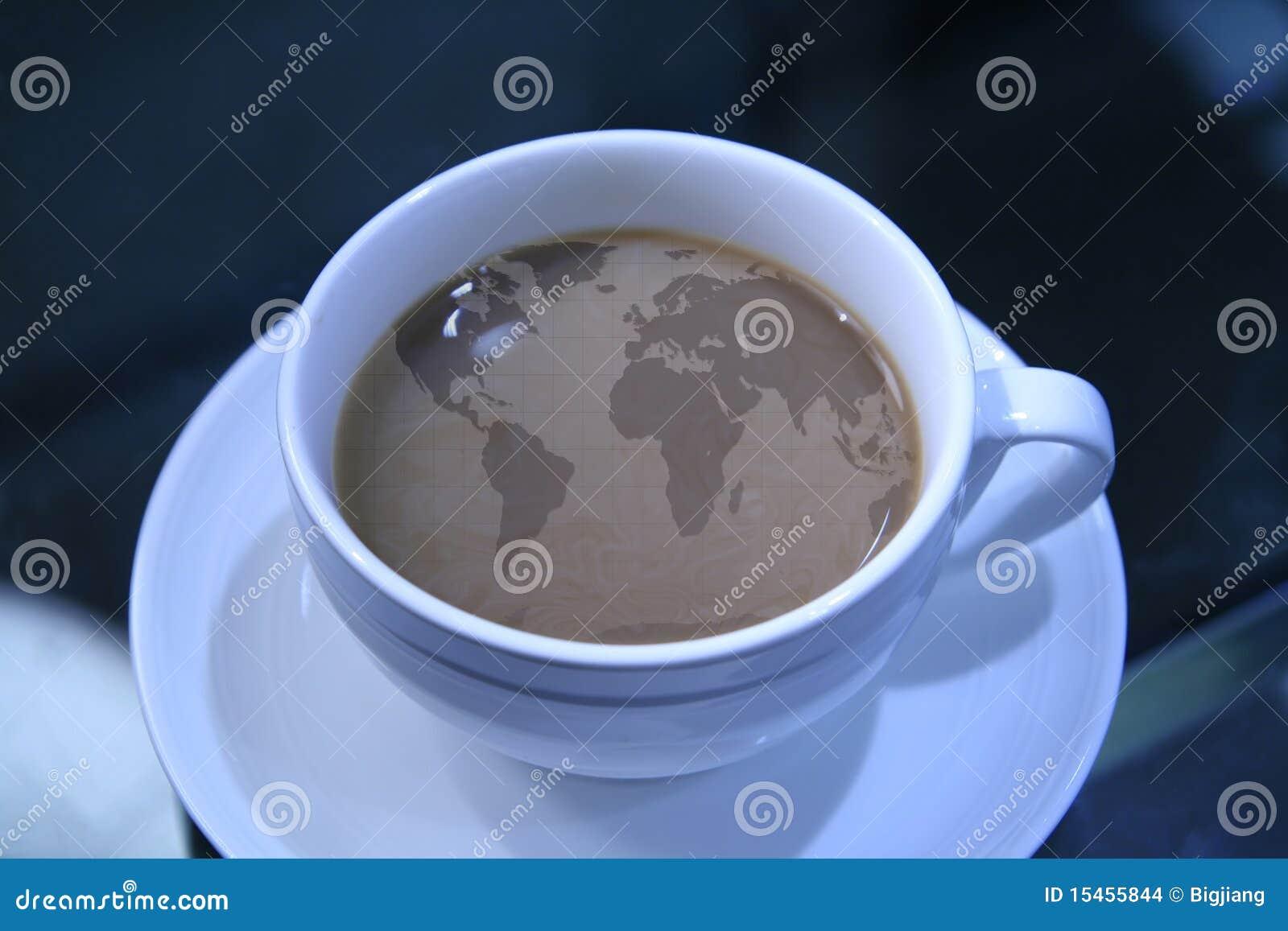 Café con la correspondencia de mundo