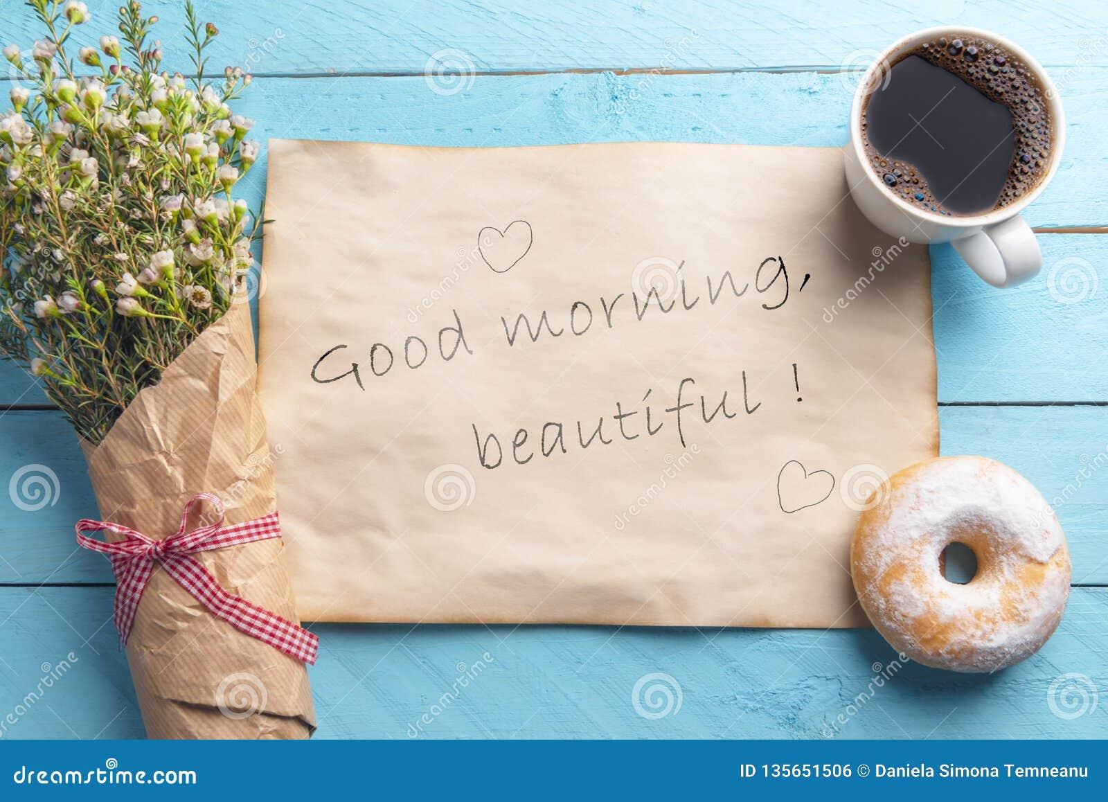 Café Da Manhã Com Flores E Café E Mensagem Texto Bonito Do
