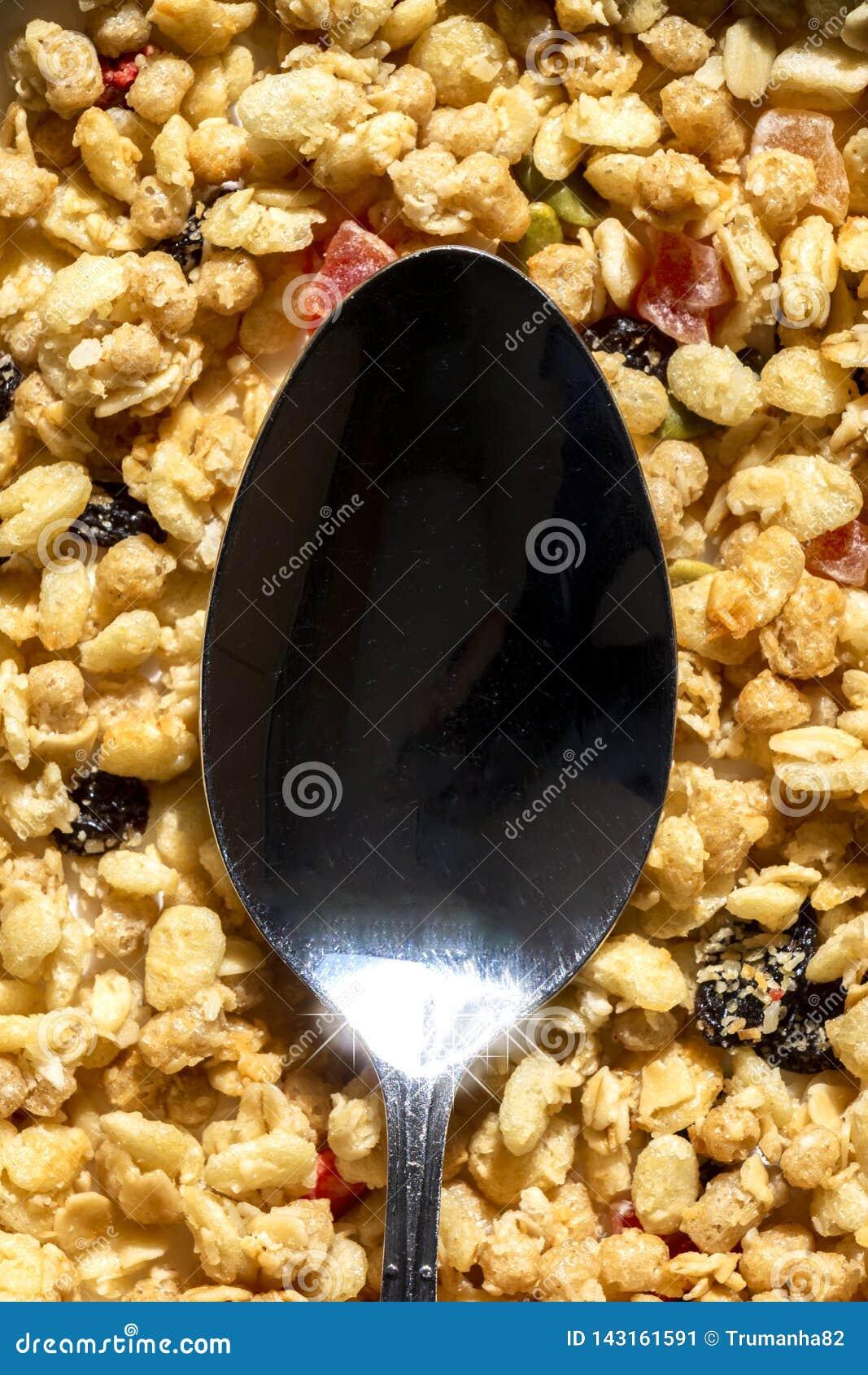 Café da manhã saudável com conceito de Mueslis