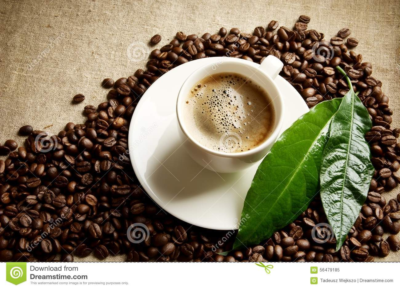 Café de //avec la tasse de mousse avec des haricots dans le coin avec la feuille verte sur la toile