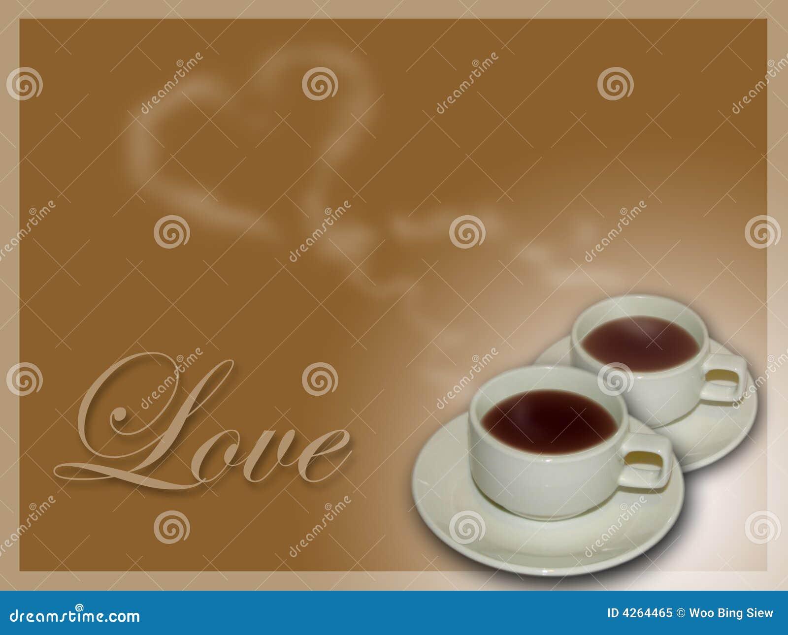 Café de la tarjeta del día de San Valentín