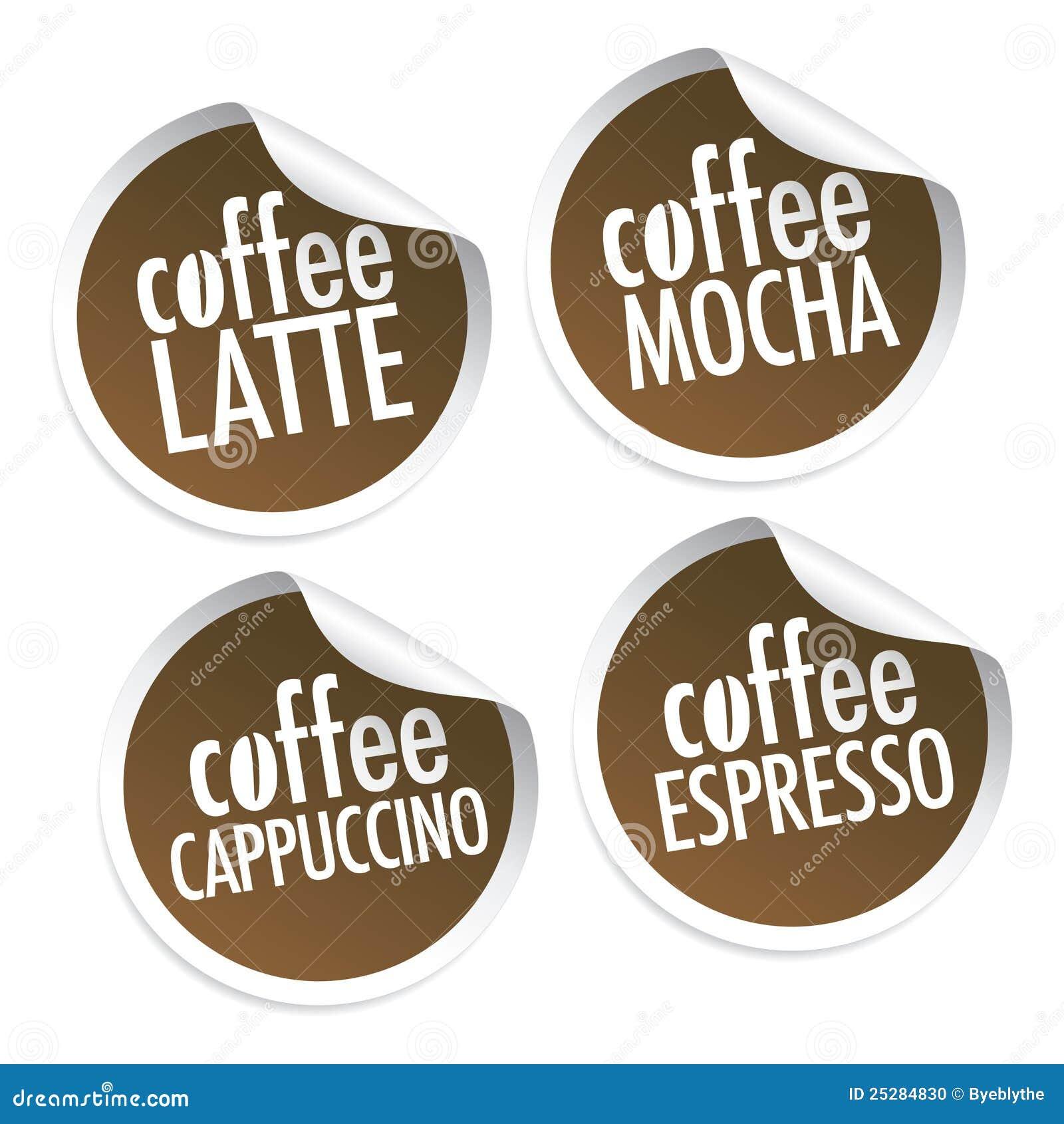 Café de Latte, del Mocha, del Cappuccino y del café express
