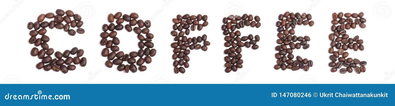 Café de Word des grains de café, alphabet des grains de café