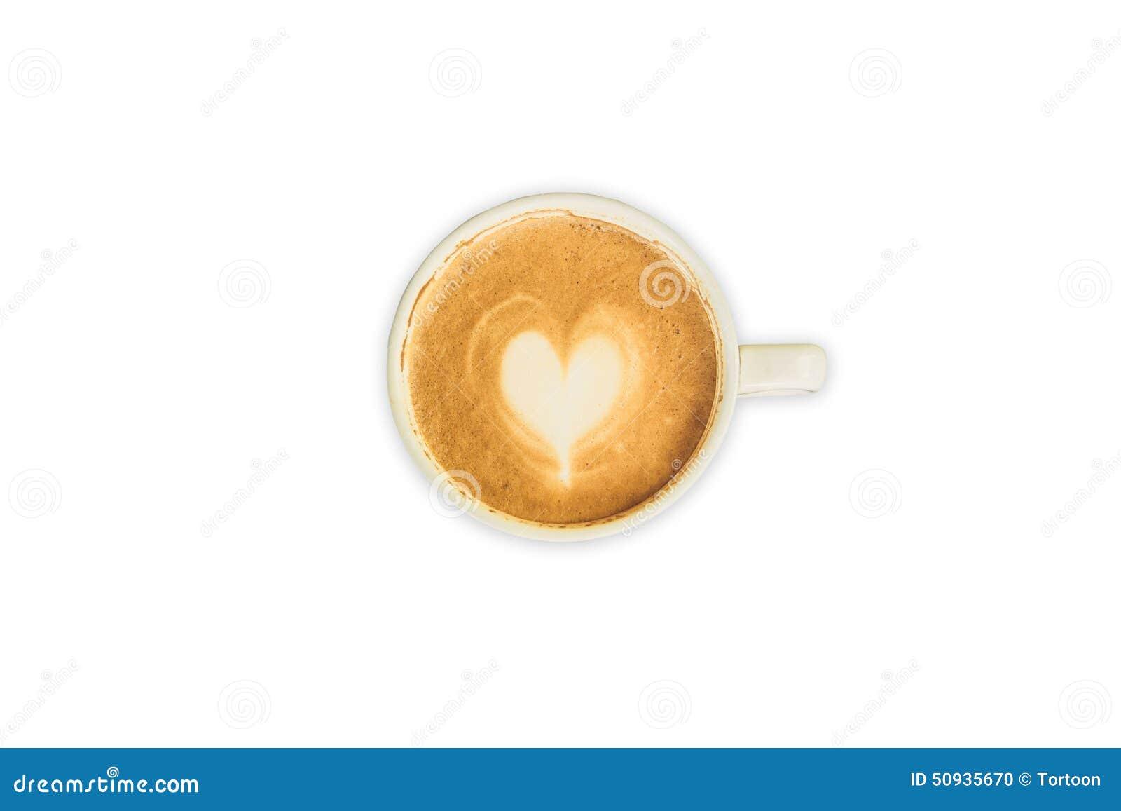 Café del arte del capuchino o del latte en blanco aislado