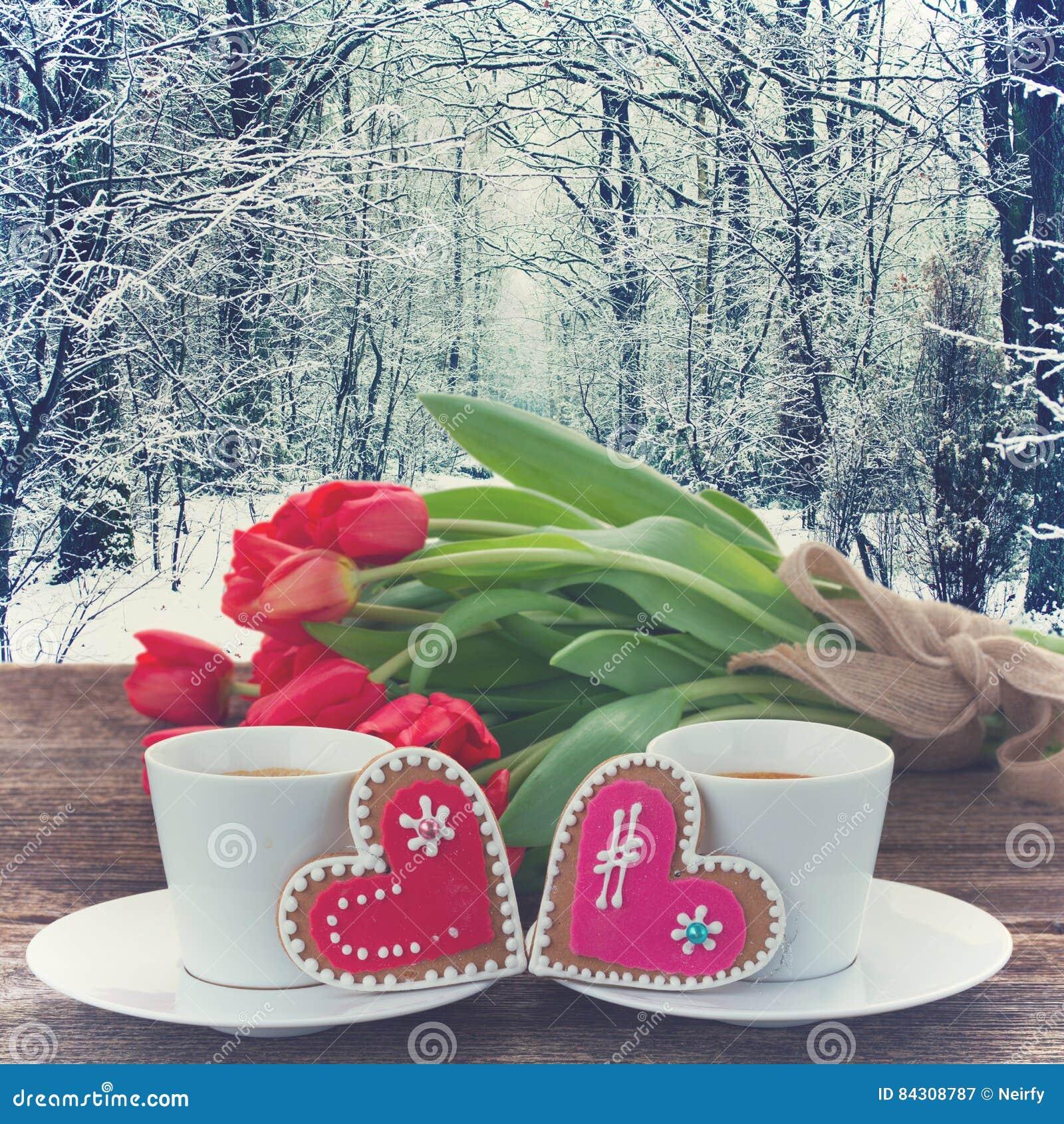 Café del día de tarjetas del día de San Valentín