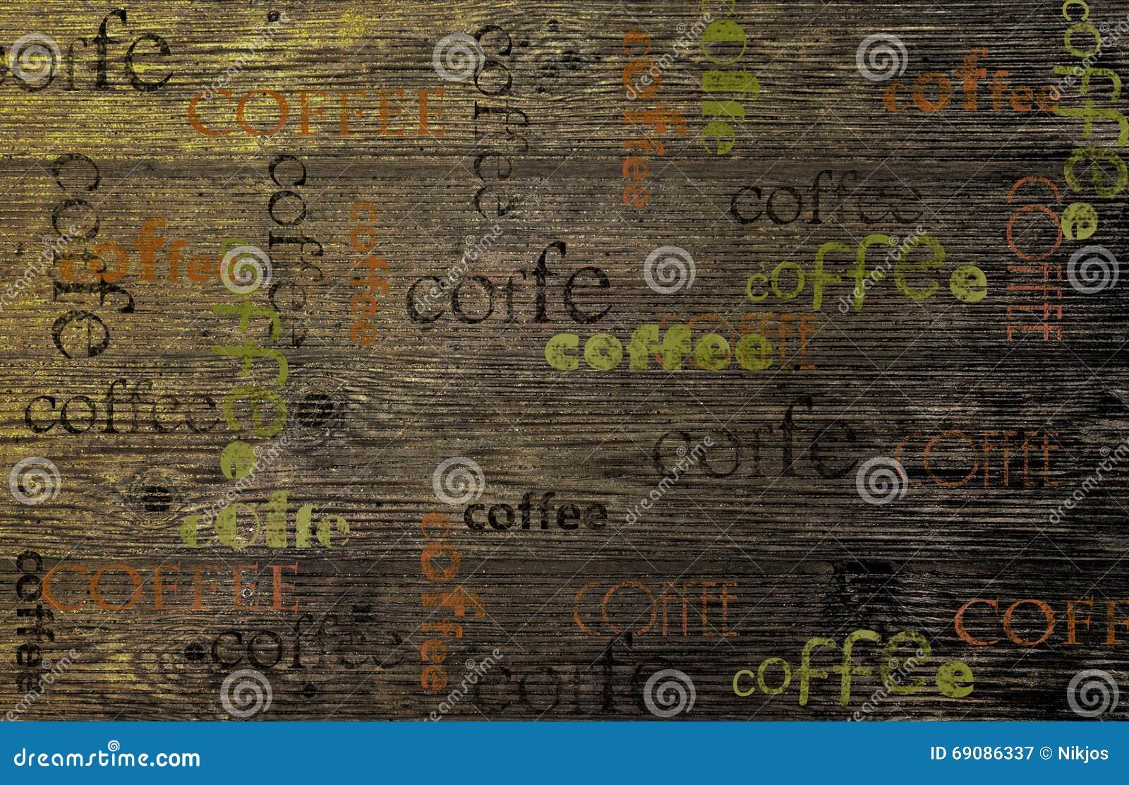 Café em uma placa de madeira, fundo de madeira da textura
