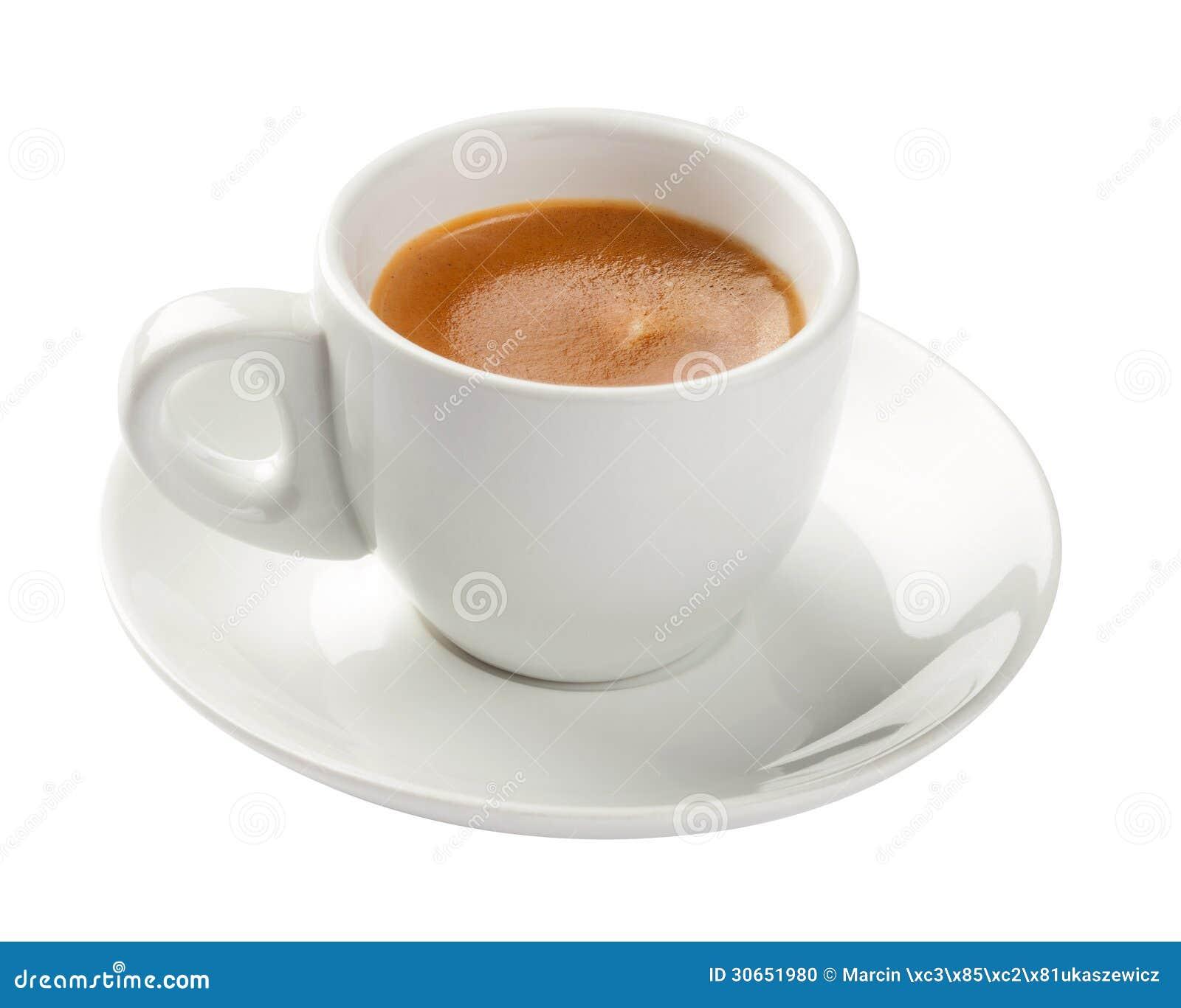 Café express, taza de café aislada en blanco
