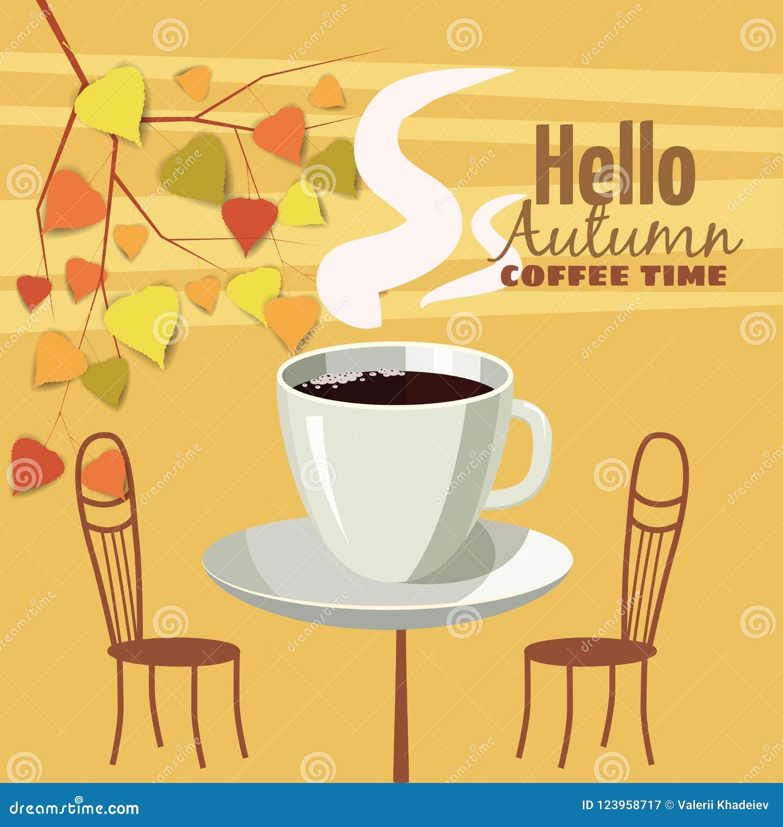 Café exterior na cidade velha, mesa de centro da rua com copos, cadeiras, folhas de outono, humor da queda, romance, ilustração,