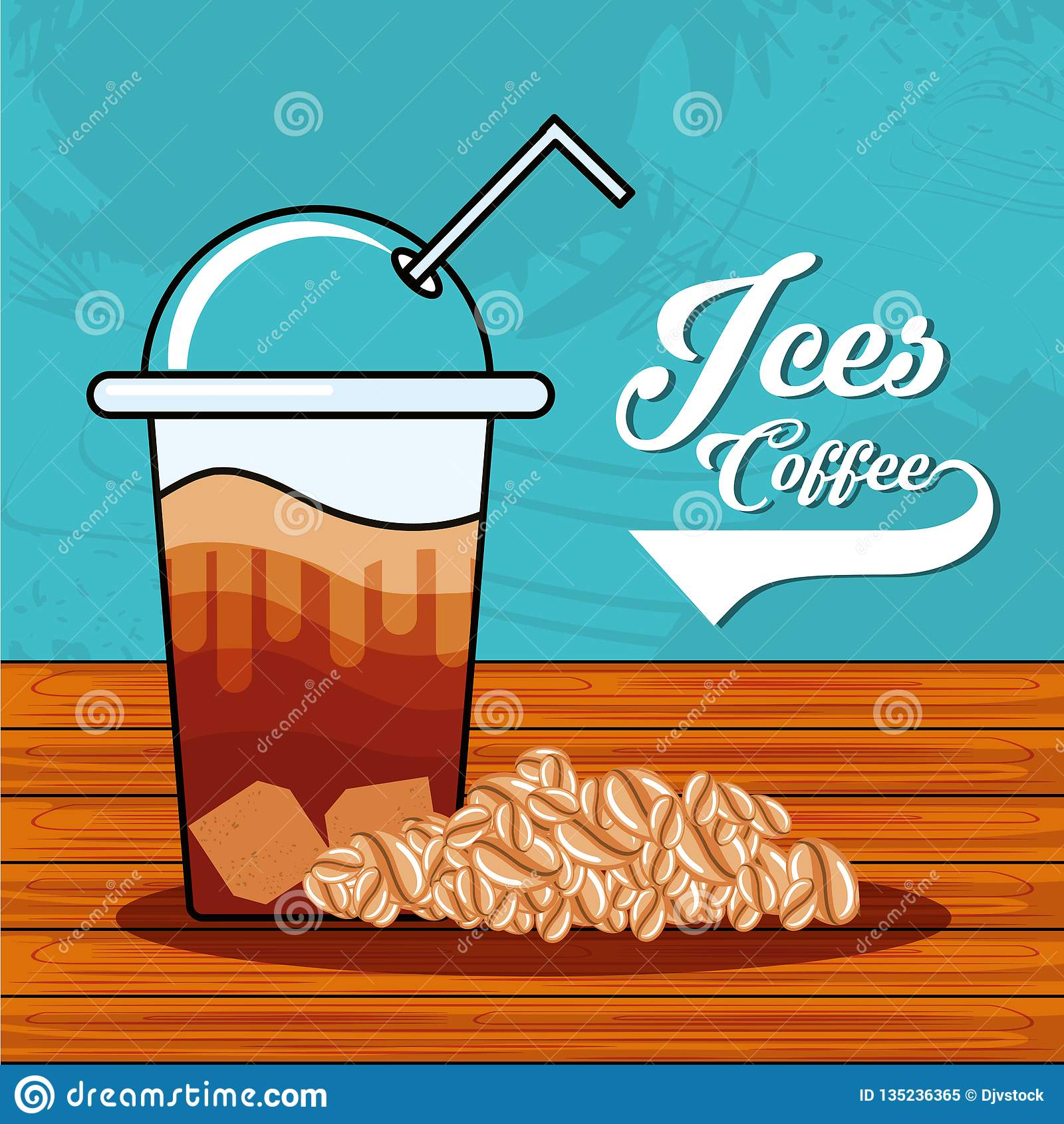 Café helado delicioso con la paja en tabla de madera