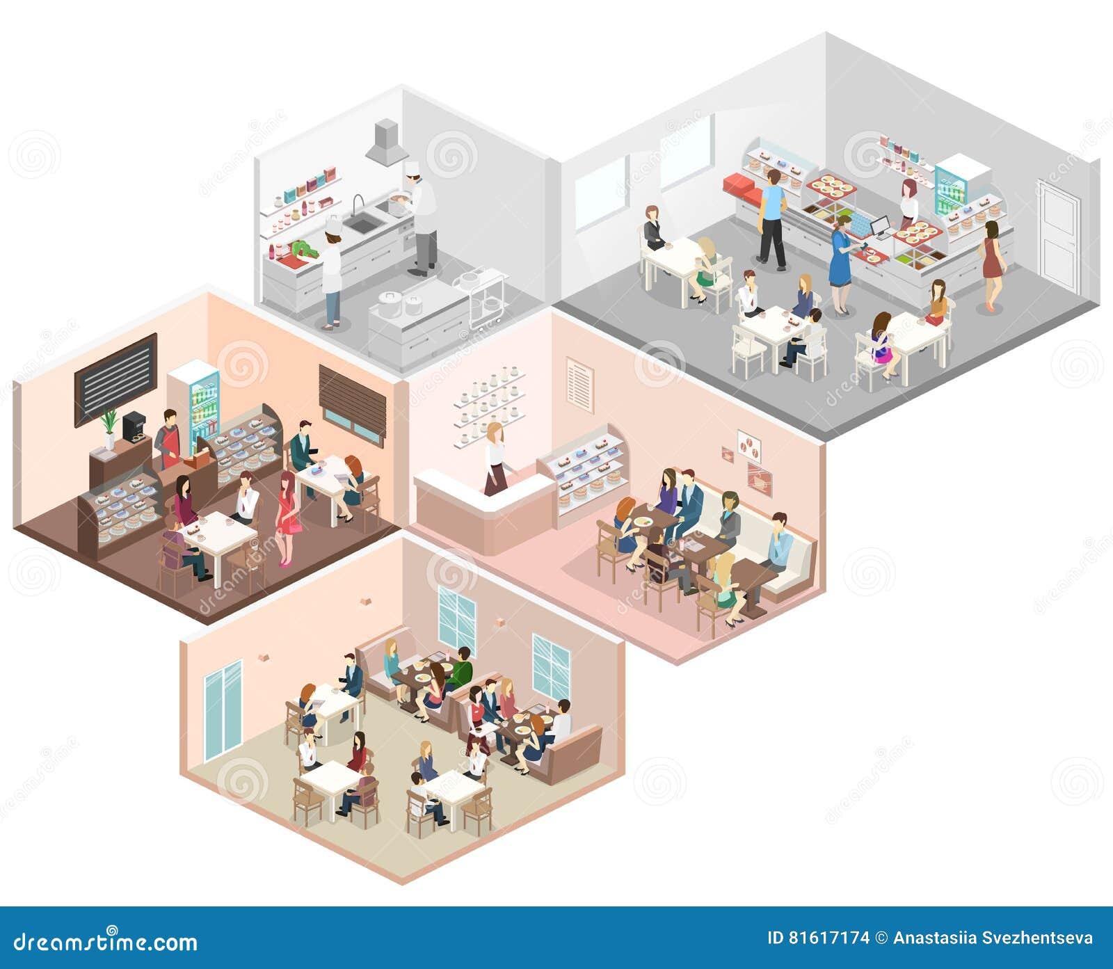 Caf interior del concepto plano isom trico 3d cantina for Planos de cocinas 3d