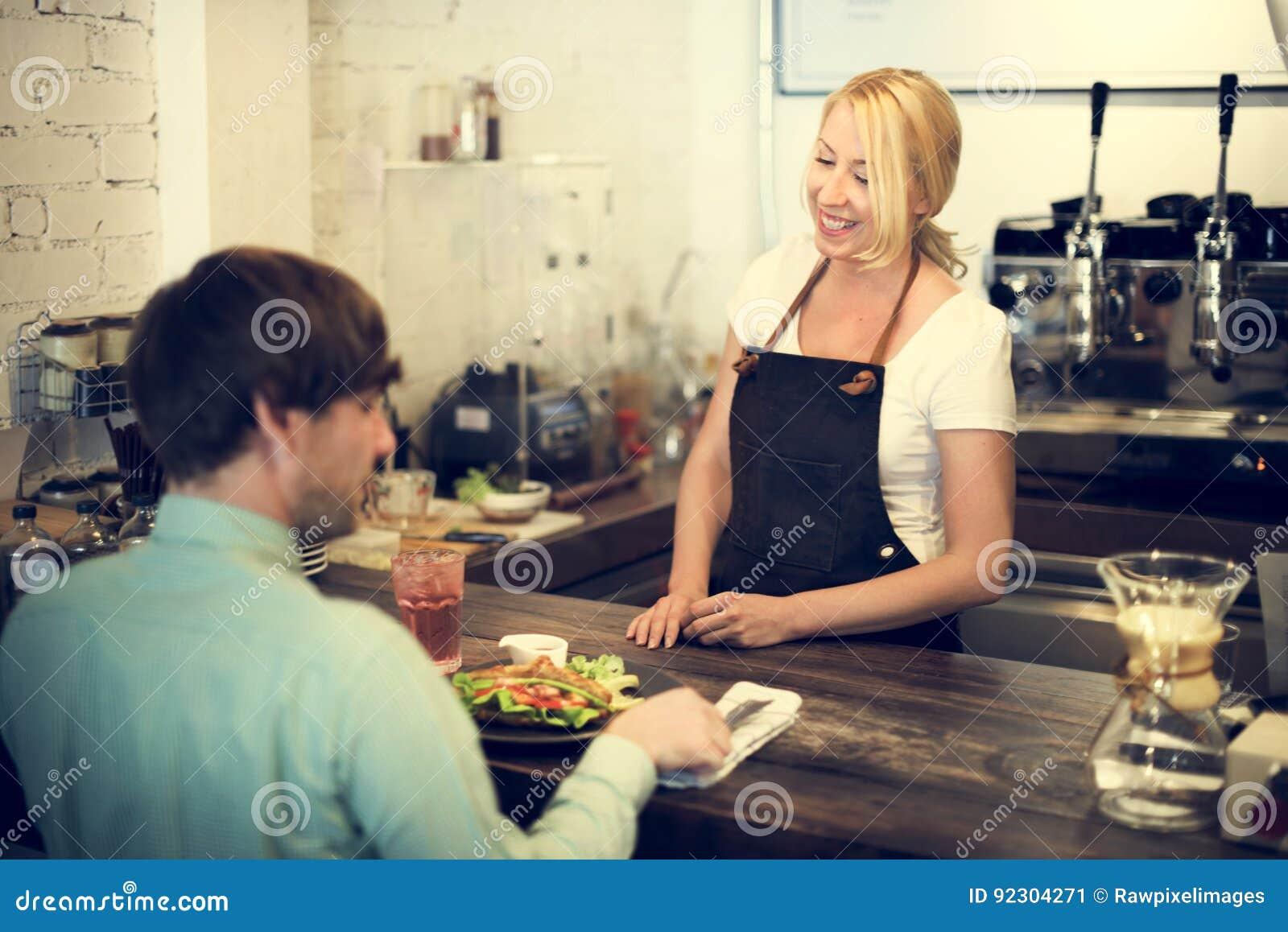 Café-Kaffee-Kellner-Staff Serving Cafeteria-Schutzblech-Konzept