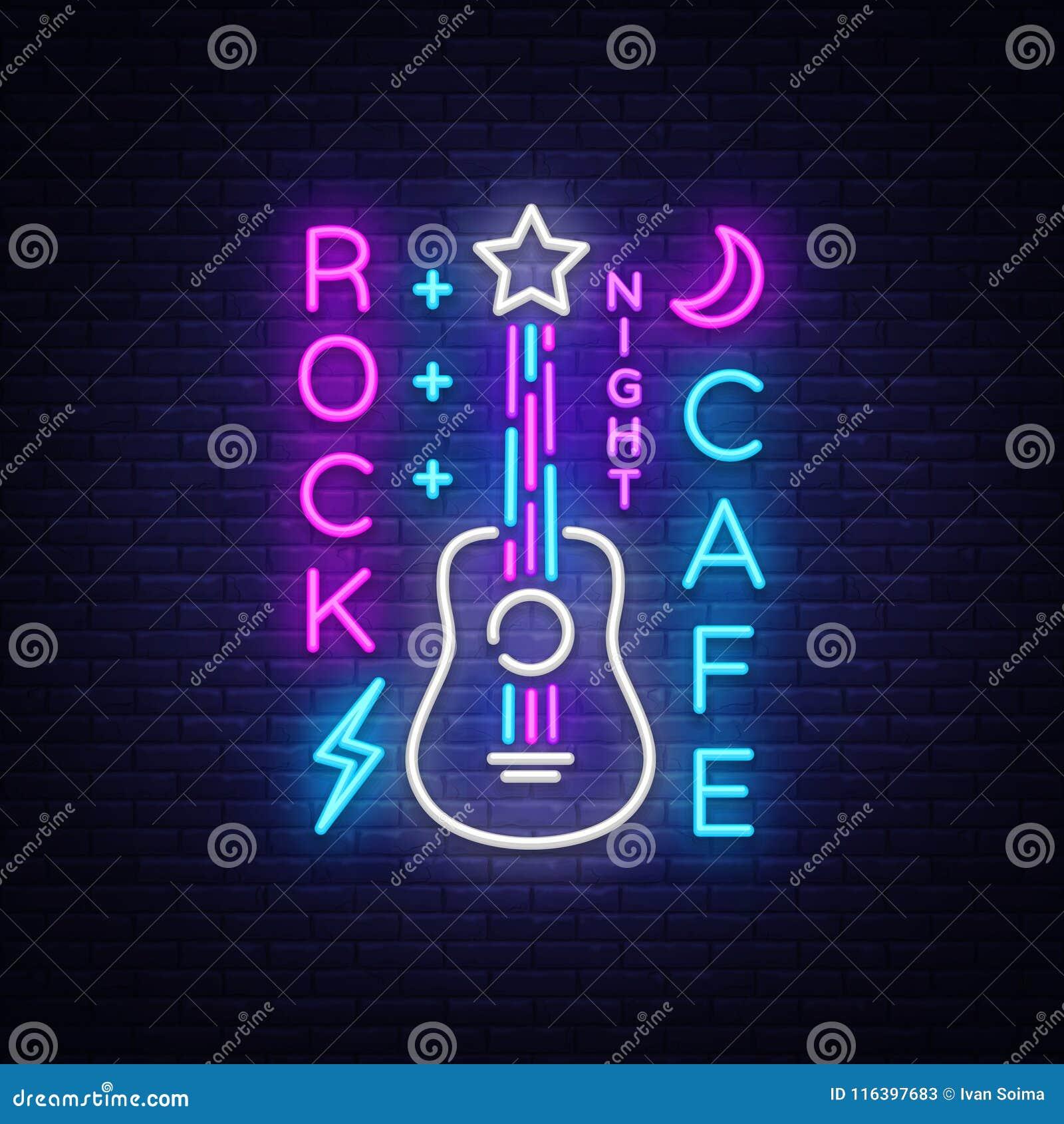 Café Logo Neon Vetora da rocha Balance o sinal de néon do café, conceito com guitarra, propaganda brilhante da noite, bandeira cl