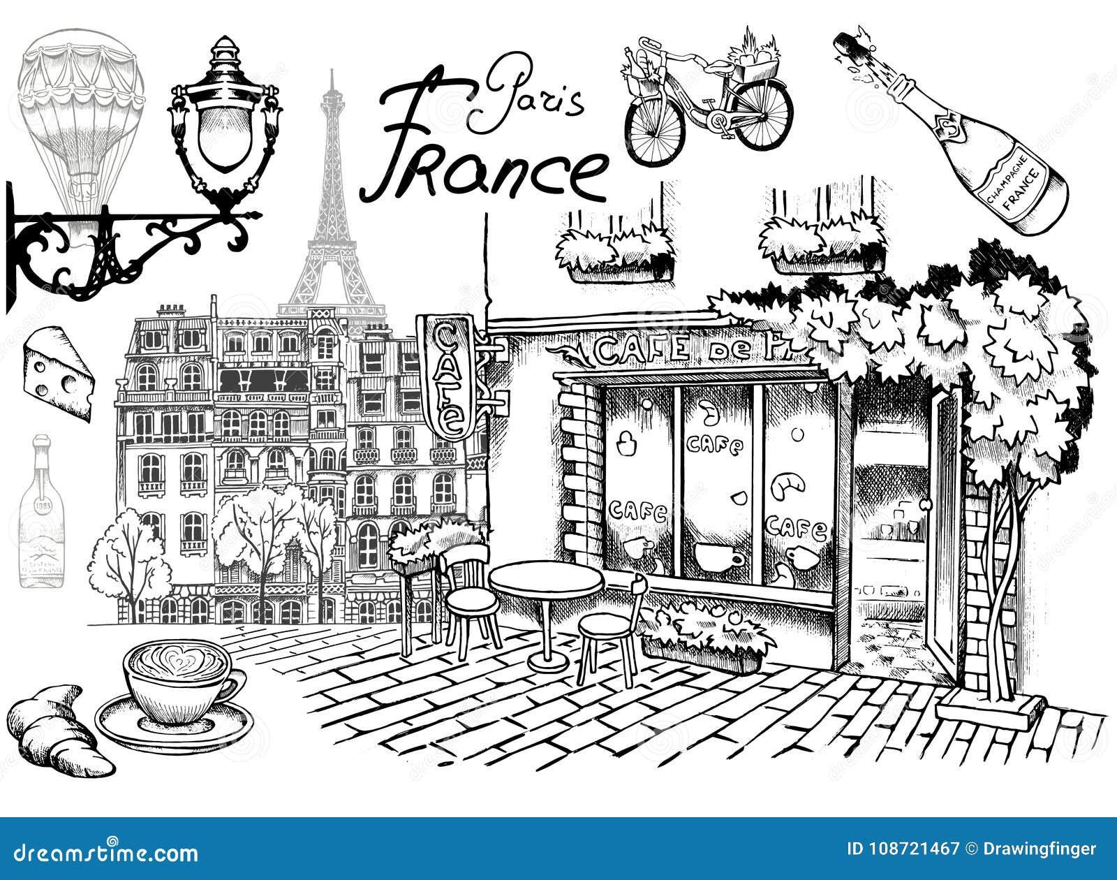 Café parisiense de Paris das vistas em atrações de uma rua e em detalhes românticos do encanto excelente de Paris