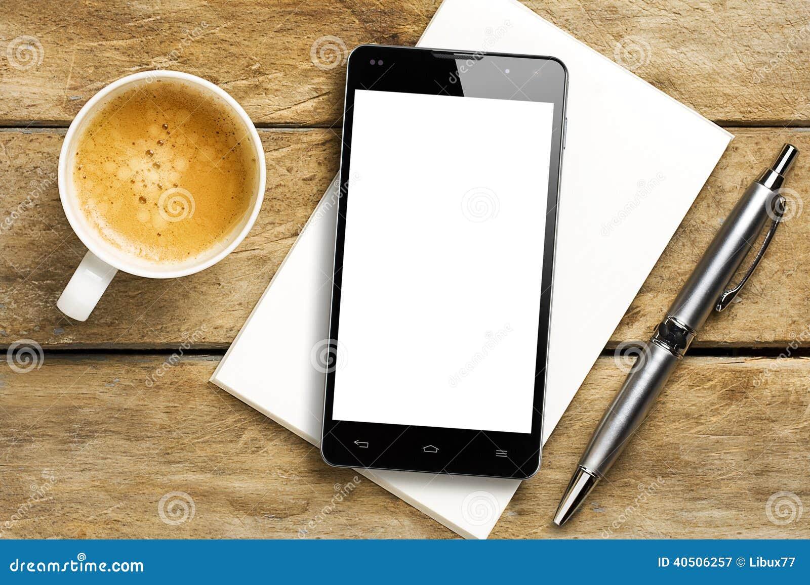 Café Pen Notepad da tela vazia de Smartphone