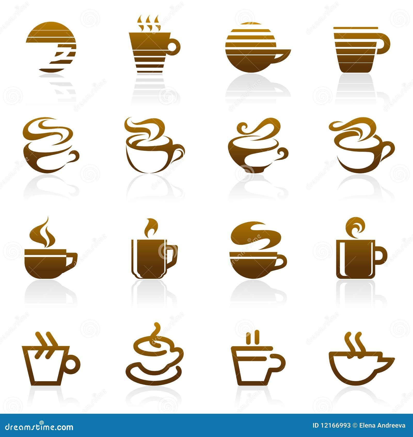 Café. Positionnement de descripteur de logo de vecteur.