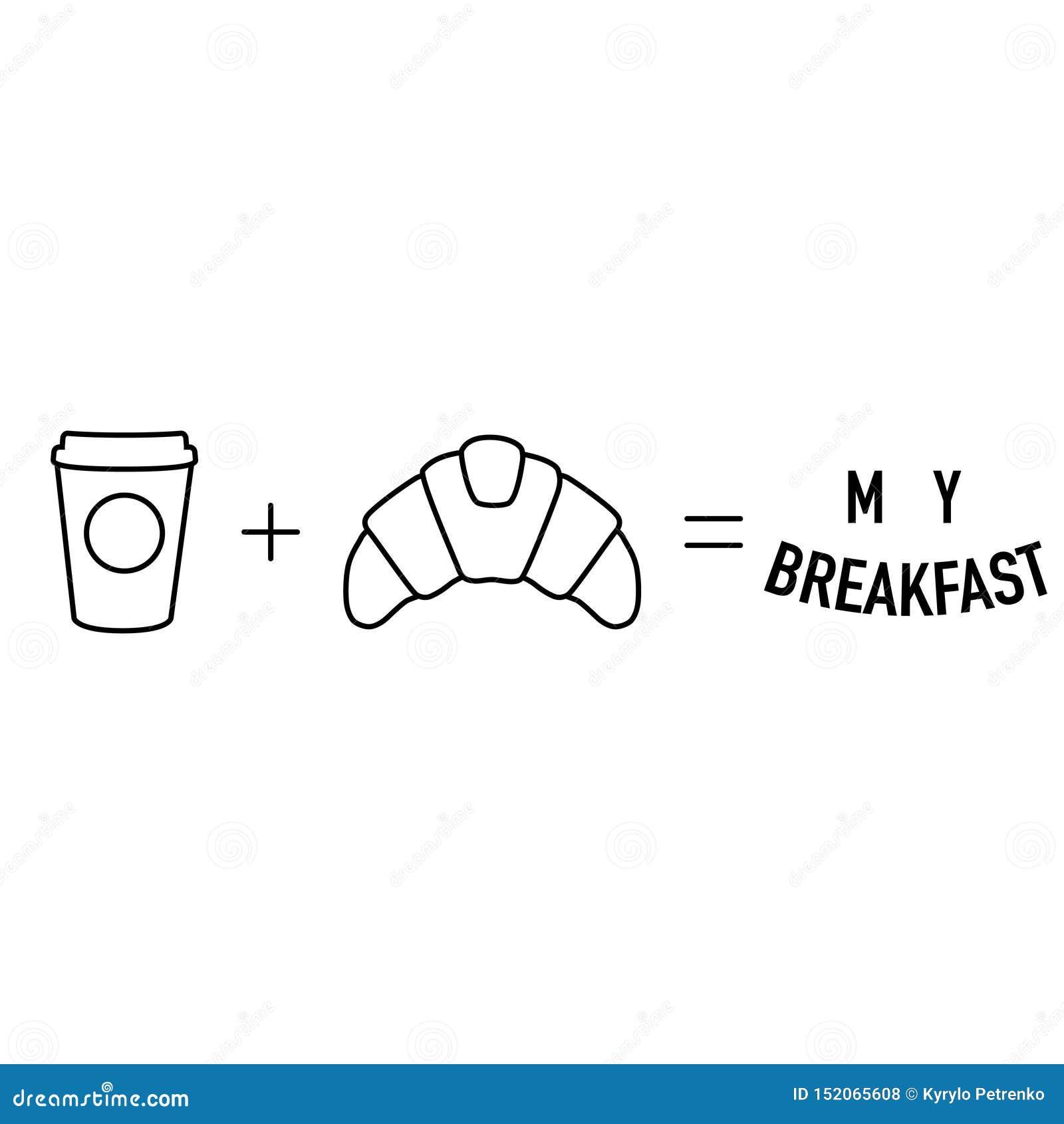 Café simple de maths de matin plus l égal de croissant