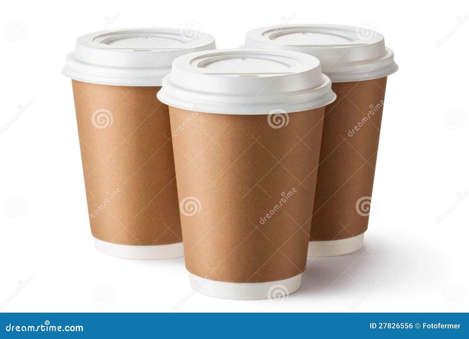 Café trois à emporter dans la cuvette thermo de carton