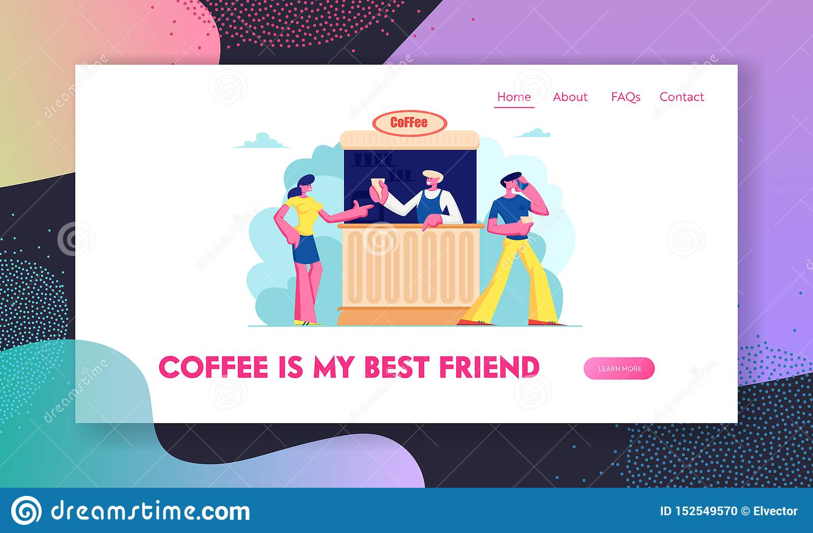 Café-Website-Landungs-Seite im Freien, junger Mann und Frauen-kaufender Kaffee im Stand auf Straße Sommer-Cafeteria im Freien mit