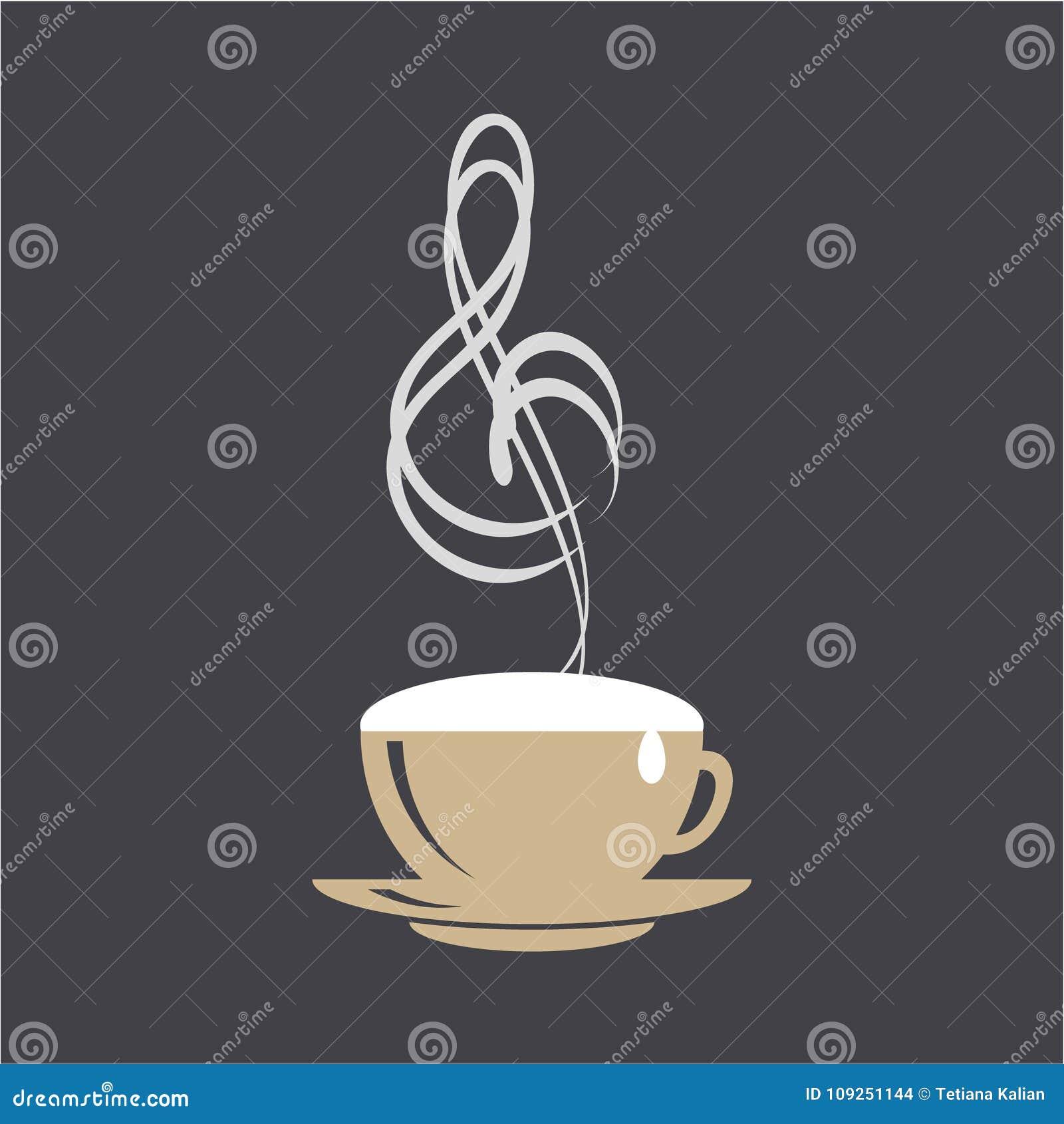 Café y concepto del logotipo de la música Taza y clave de sol del capuchino en fondo negro