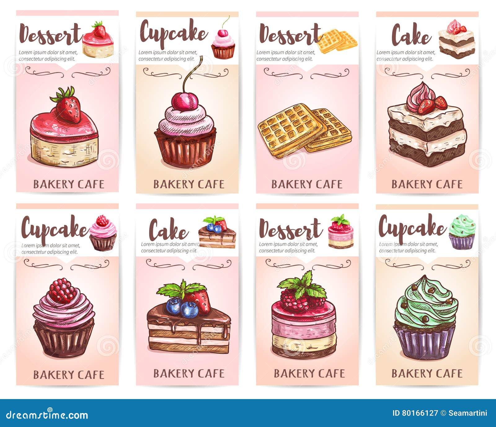 Cafénachtischmenü Skizzierte kleine Kuchen, Kuchentags