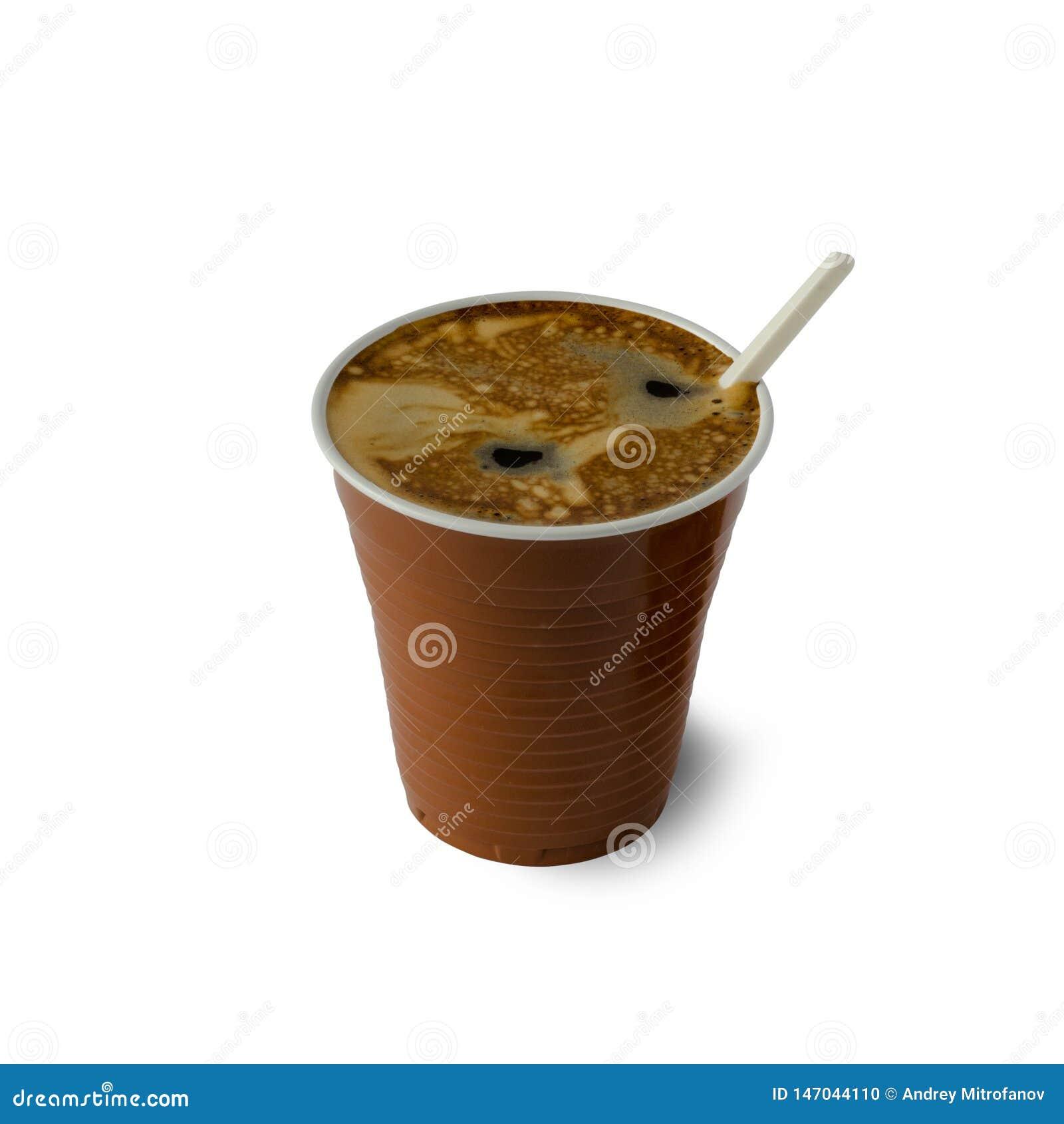 Caf? en una taza pl?stica