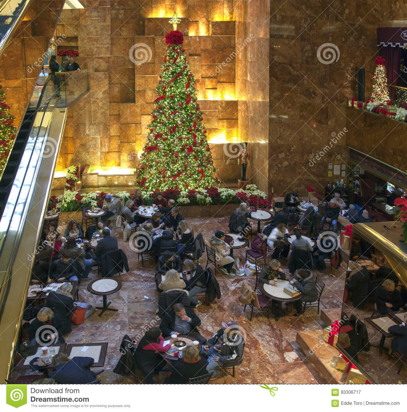 Cafe Area At Christmas Time Trump Tower In NYC Editorial Photography ...