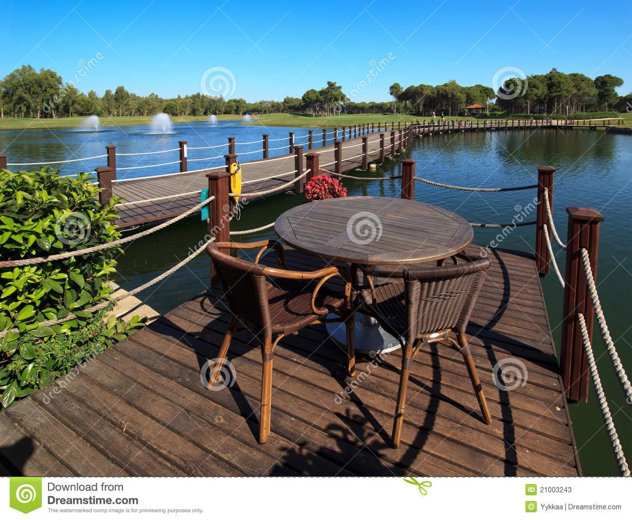 Cafe on the artificial pond stock photos image 21003243 for Artificial pond