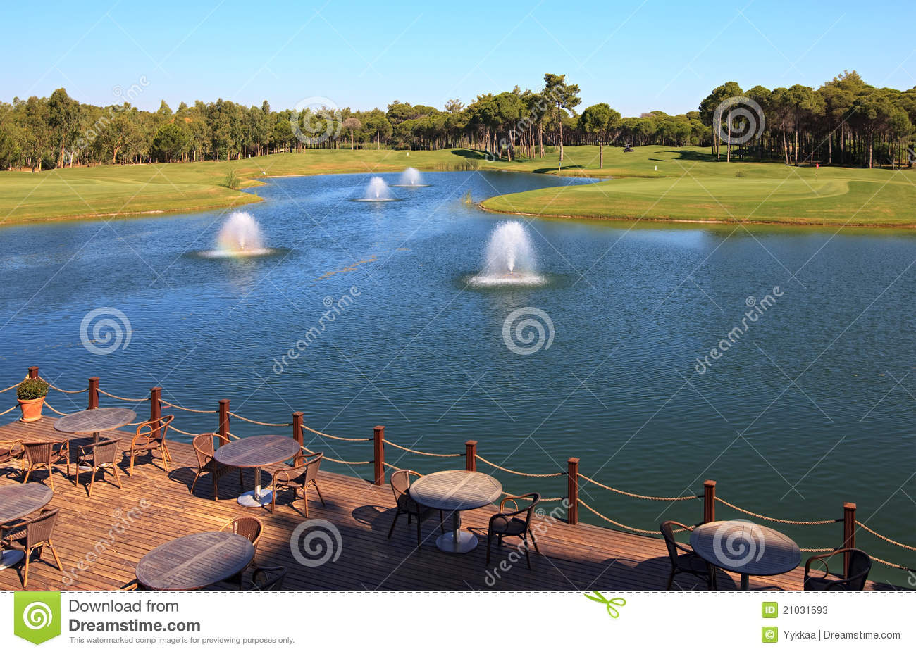Cafe on the artificial pond stock photos image 21031693 for Artificial pond