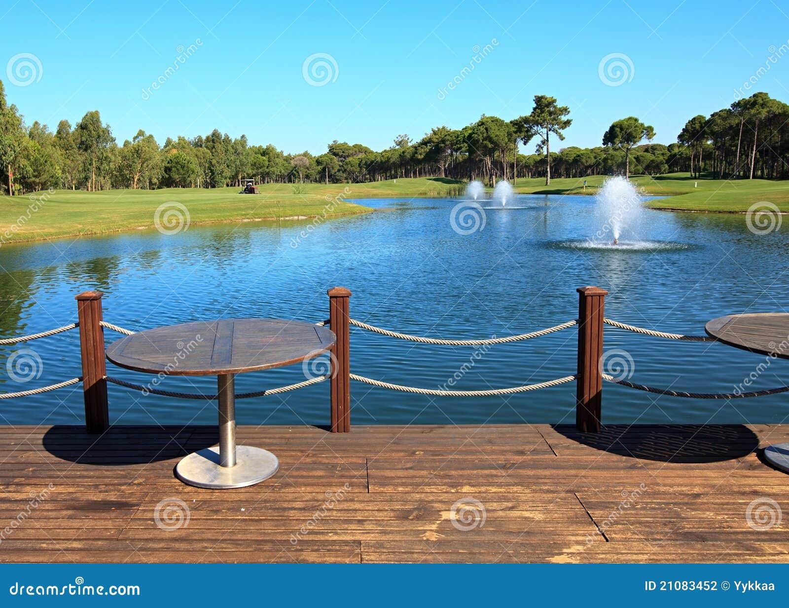 Cafe on the artificial pond stock image cartoondealer for Pond dealers
