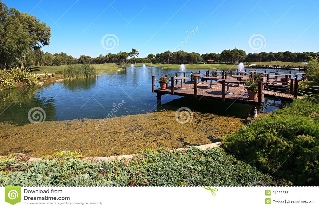 Cafe on the artificial pond royalty free stock image for Artificial pond