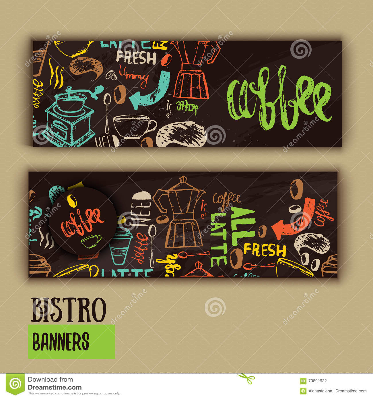 Cafe Banner Template Design With Lettering For Coffee Shop