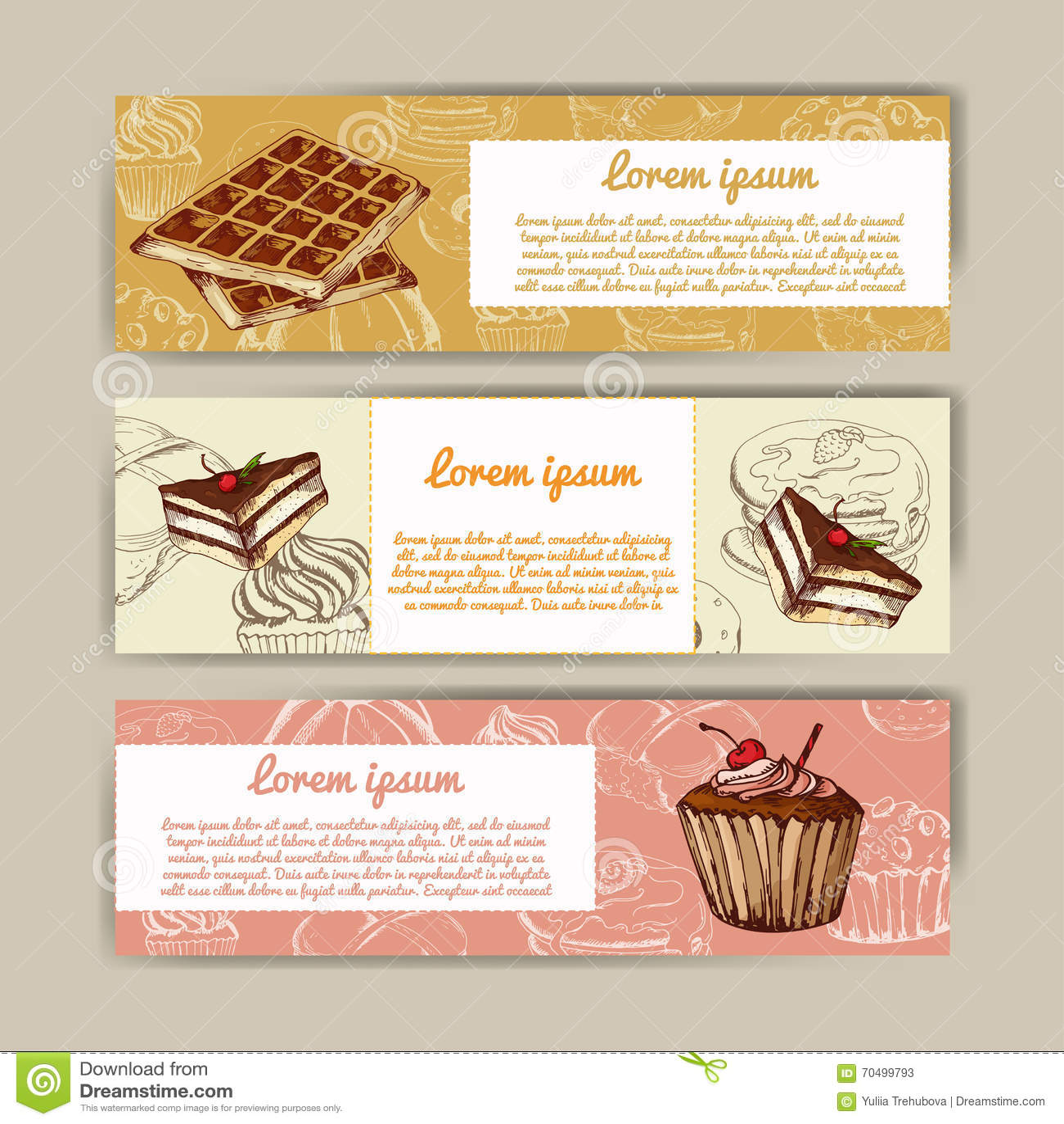 cafe banners with hand drawn design dessert restaurant menu template set of cards for. Black Bedroom Furniture Sets. Home Design Ideas