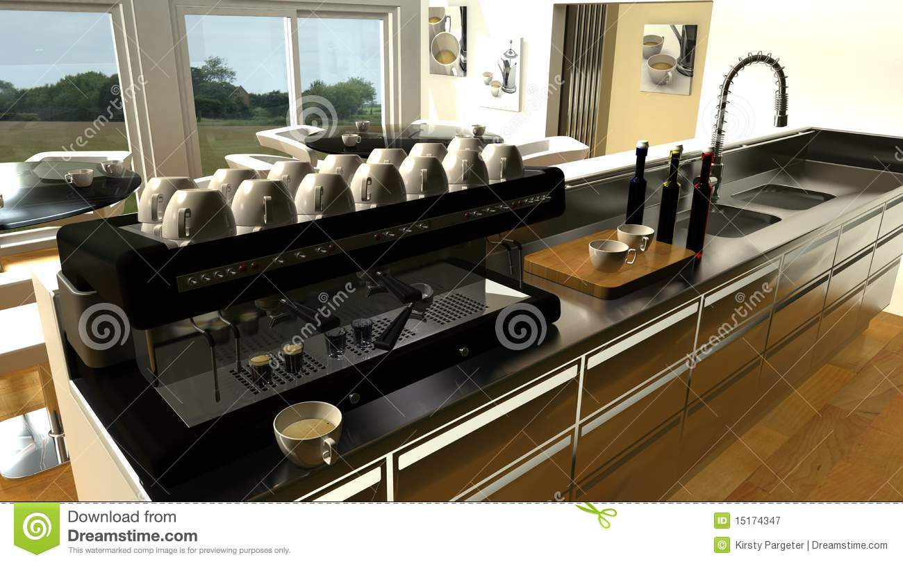 cafe bar interior and espresso machine stock illustration. Black Bedroom Furniture Sets. Home Design Ideas