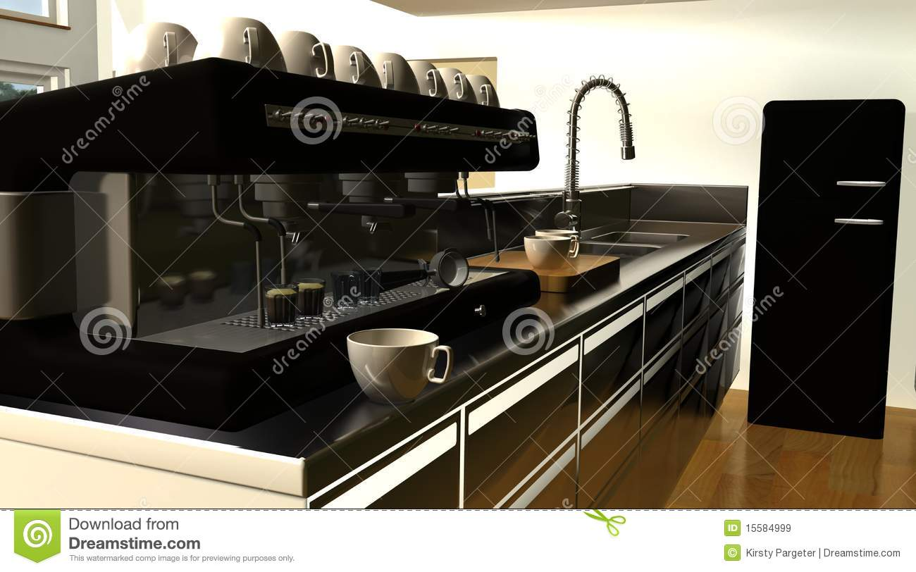 cafe bar interior and espresso machine royalty free stock. Black Bedroom Furniture Sets. Home Design Ideas