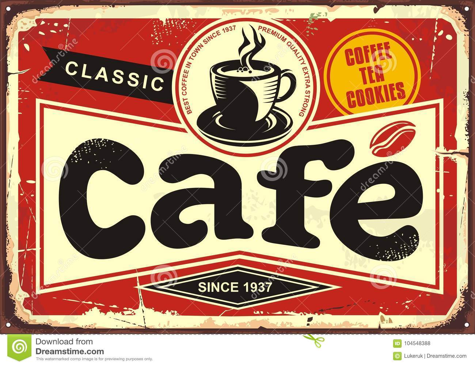 Download Cafe bar retro tin sign stock vector. Illustration of retro - 104548388