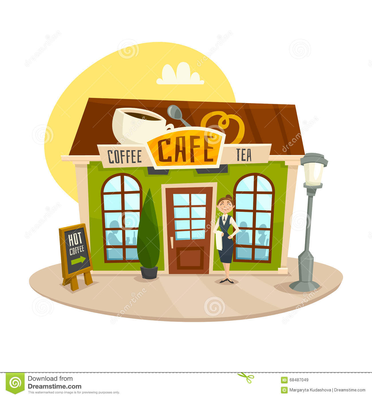 cafe building coffee tea shop front view cartoon vector illustration waitress 68487049