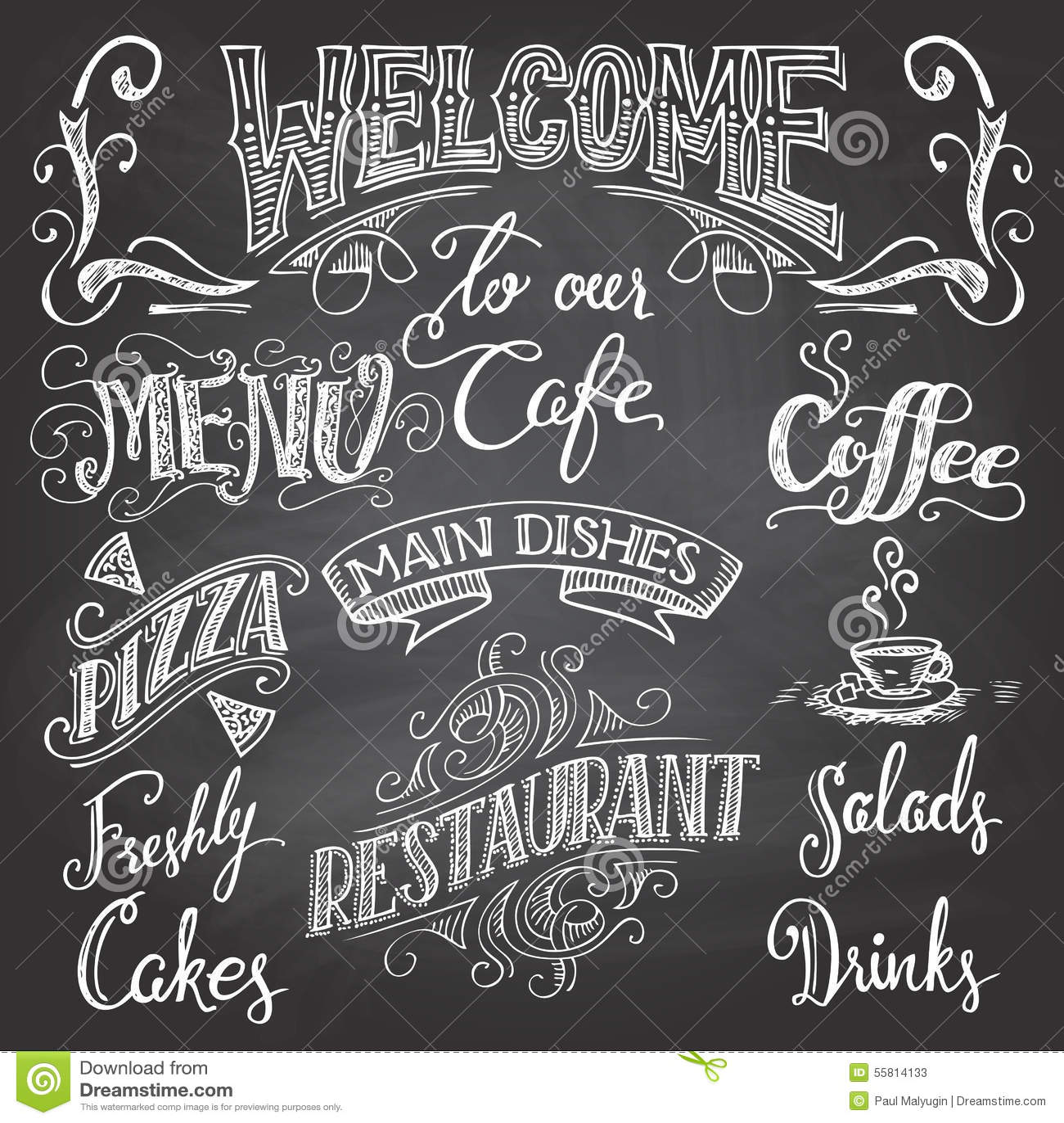 Cafe Chalkboard Hand Lettering Stock Vector Illustration