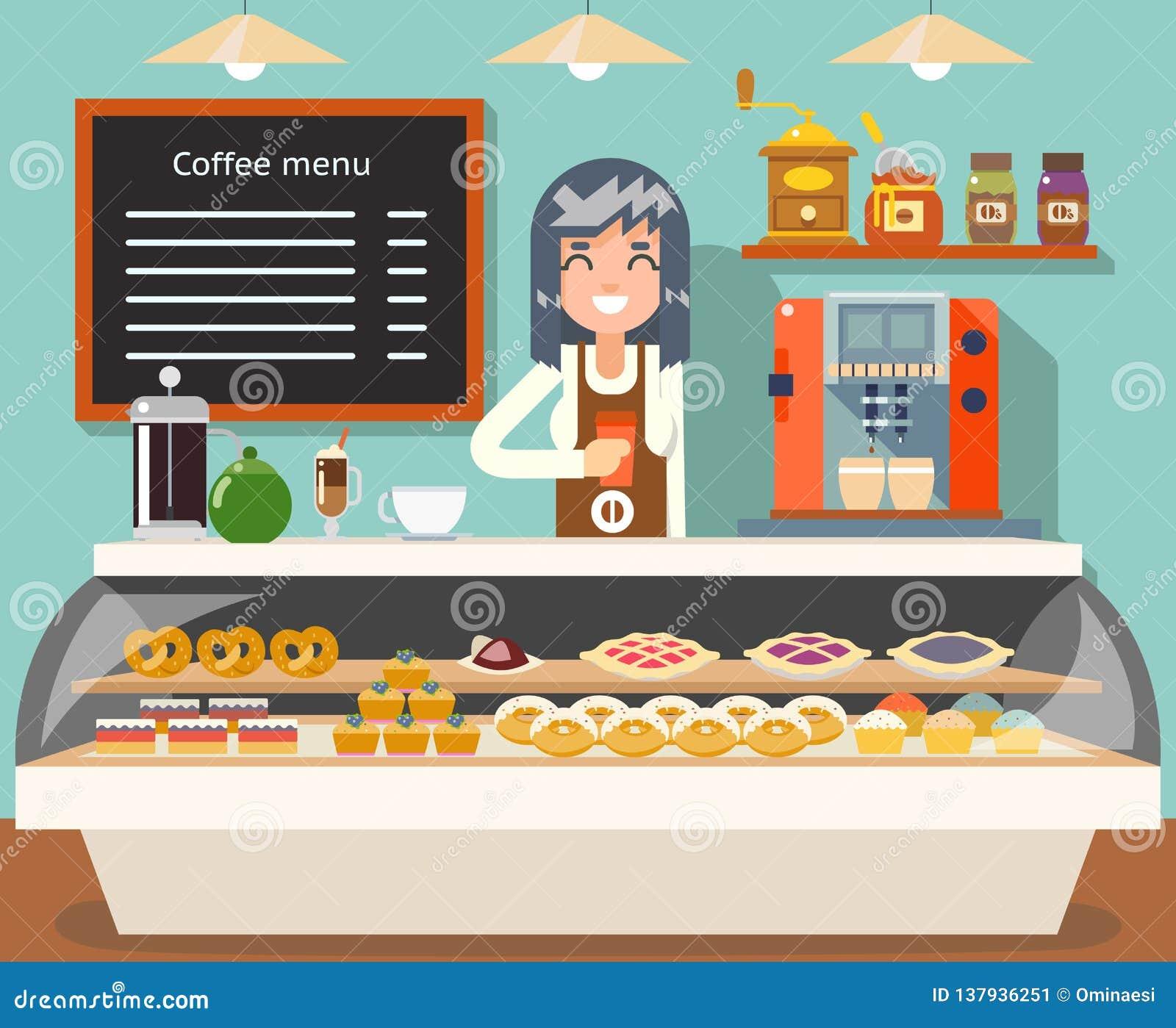 Cafe coffee shop woman business interior female seller bakery taste sweets flat design vector illustration