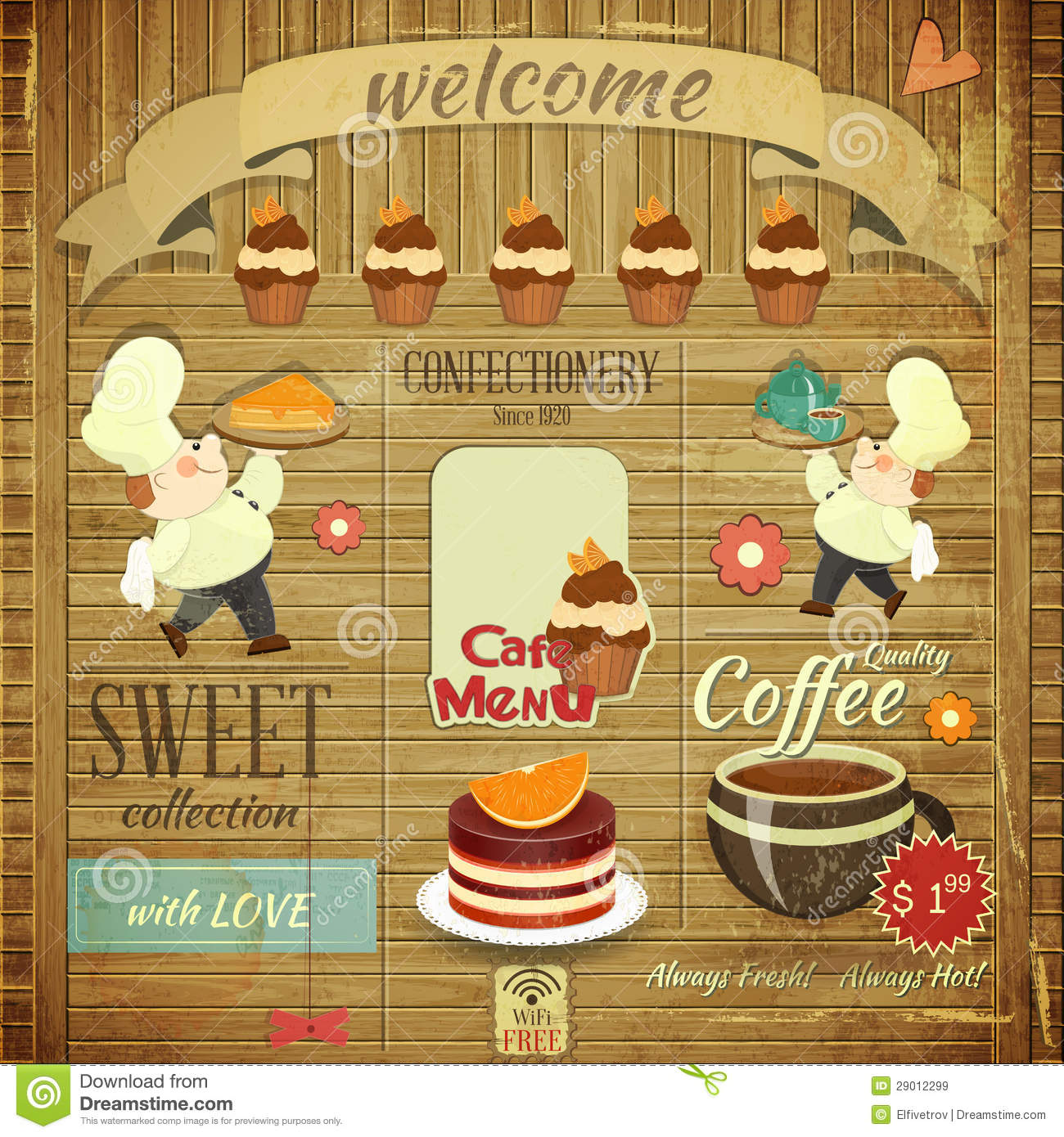 Cafe Confectionery Menu Retro Design Stock Vector