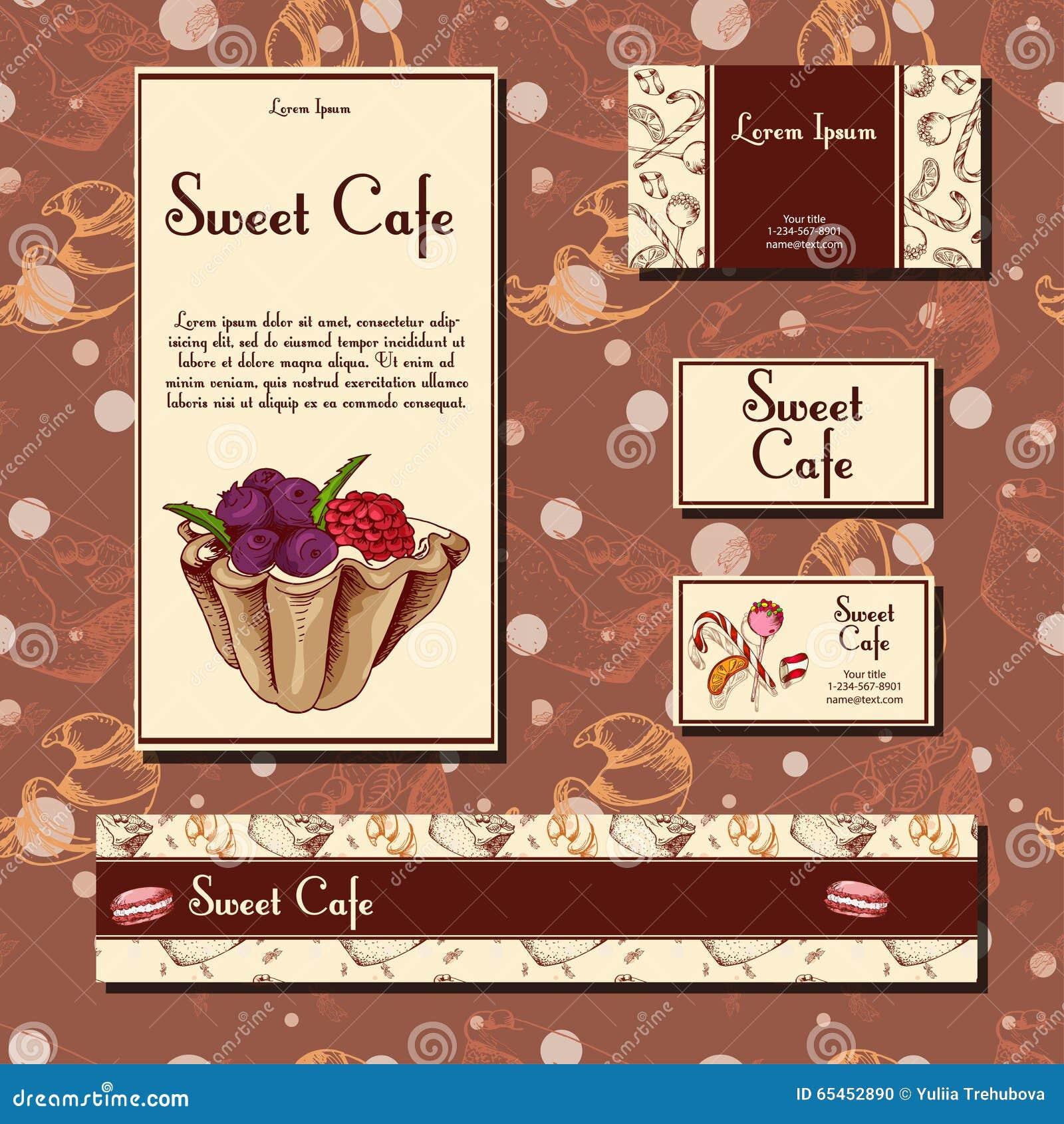 cafe design template. hand drawn dessert card. set of restaurant