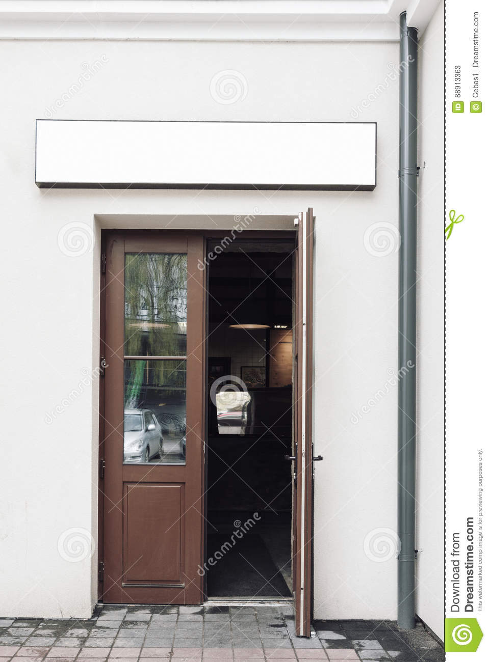 Cafe doors with empty signage mockup