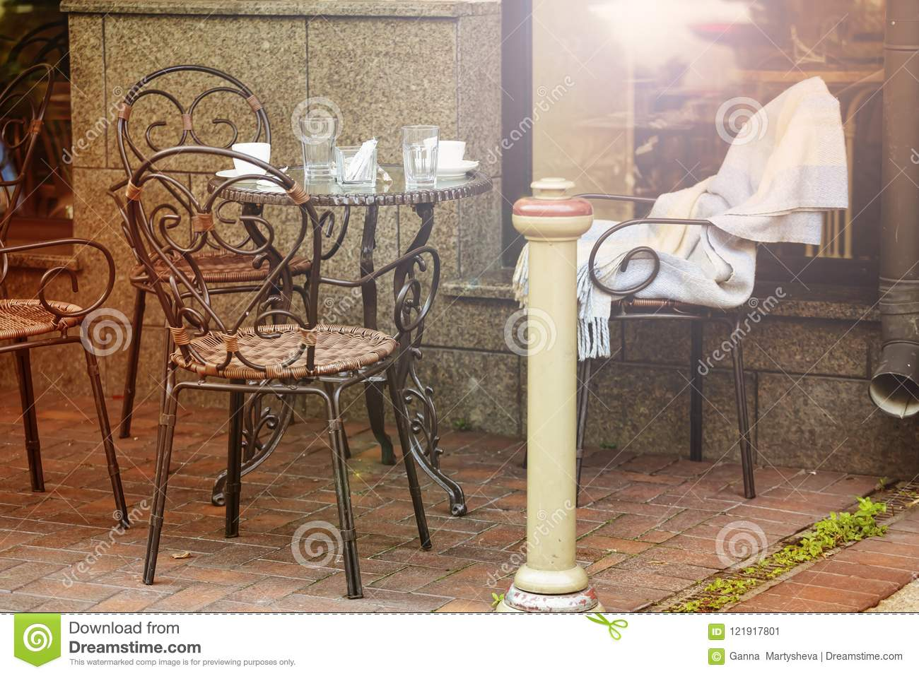 City Summer Terrace Restaurant Outdoor Europe Table Cafe Stock Image Image Of Background Cozy 121917801
