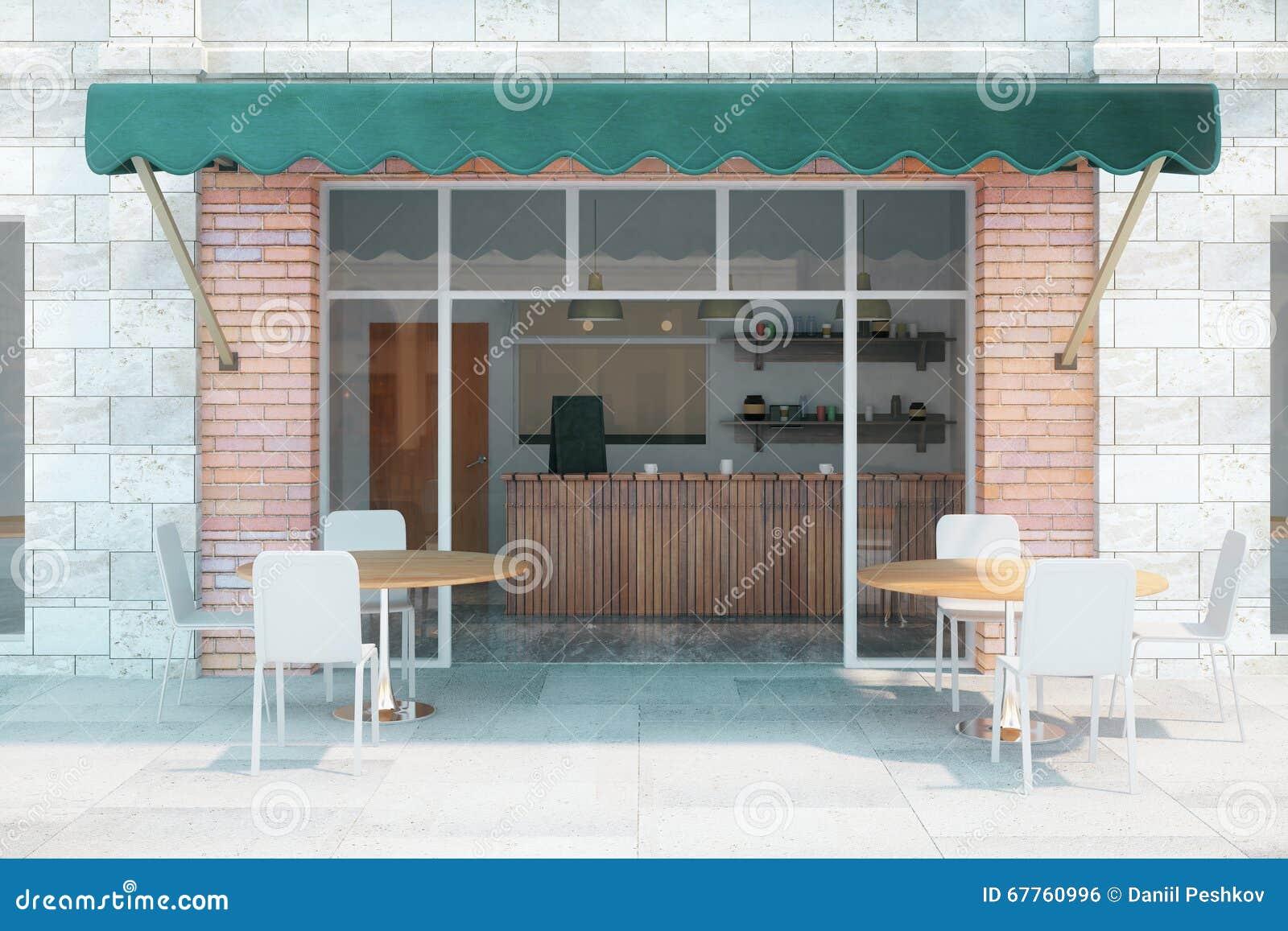 Cafe exterior front stock illustration  Illustration of