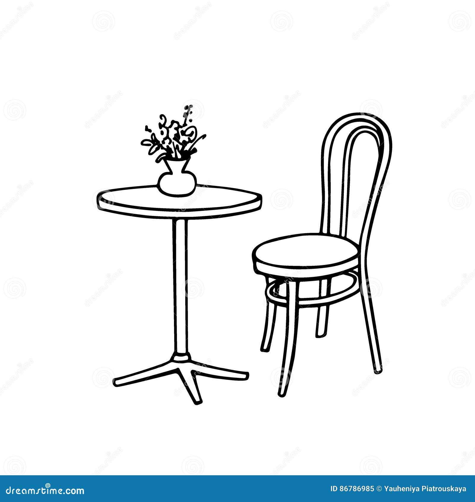 cafe furniture illustration stock vector