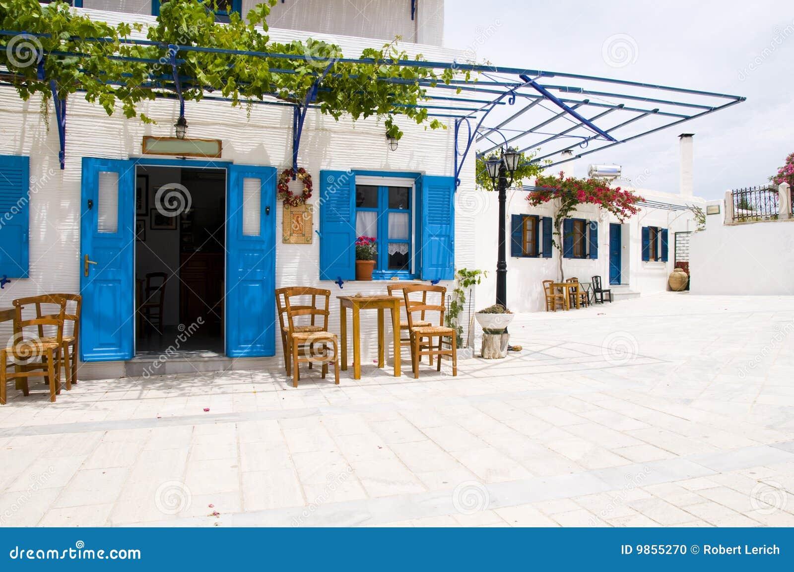Cafe Greek Lefkes Paros Cyclads Greece Stock Photo - Image: 9855270