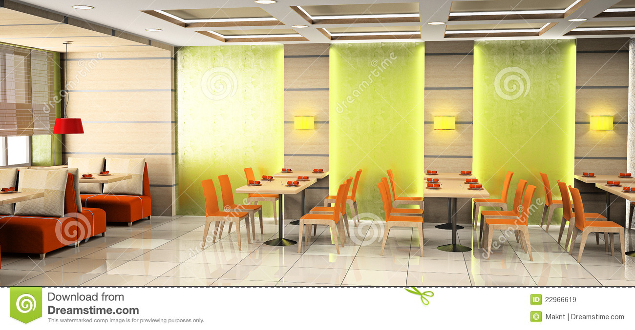 cafe interior 3d royalty free stock photo - image: 23122375